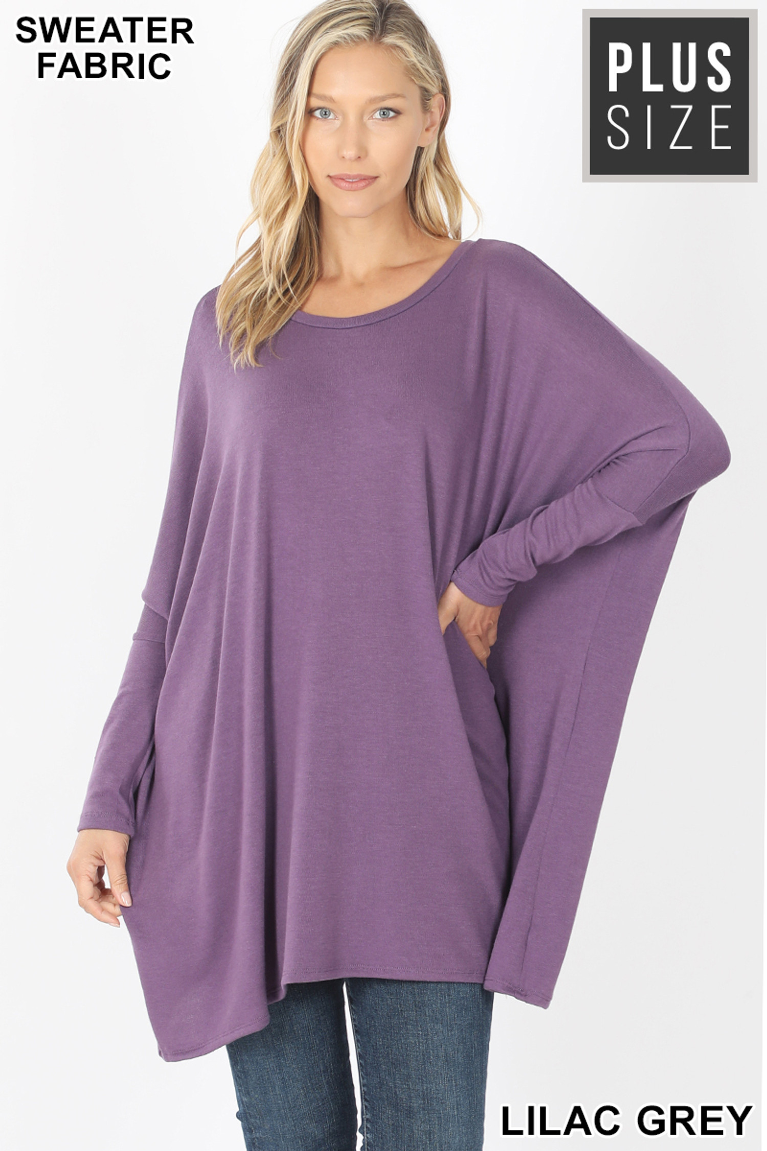 Front view of Lilac Grey Oversized Round Neck Poncho Plus Size Sweater
