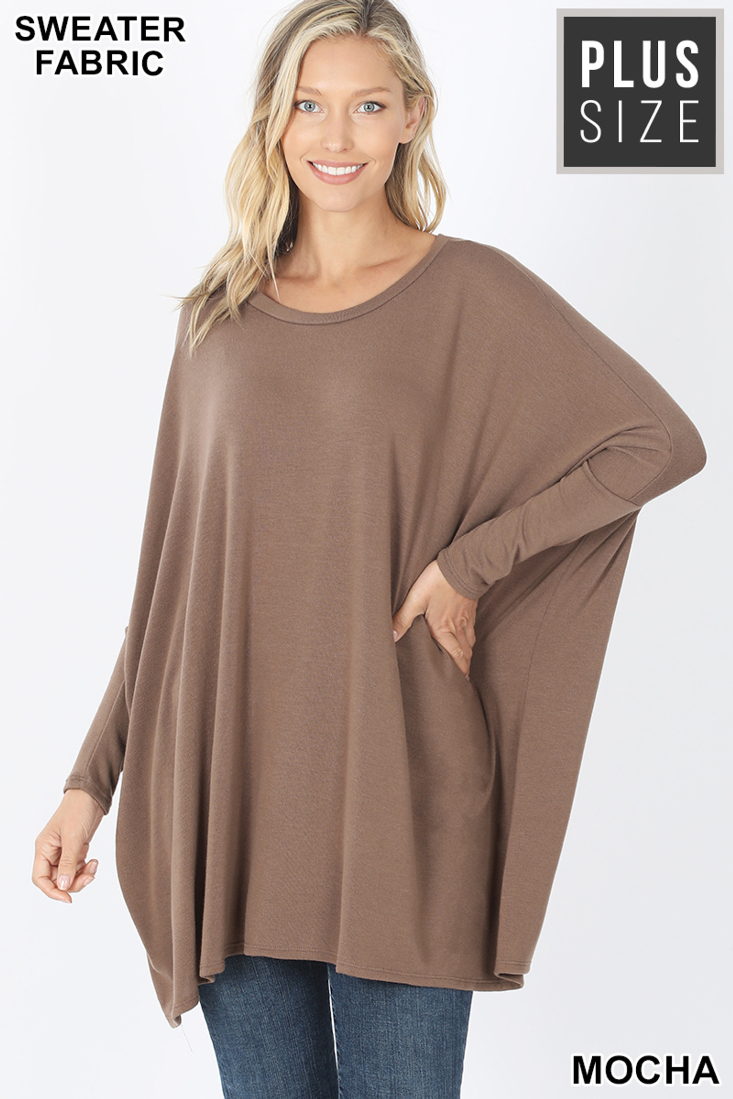 Front view of Mocha Oversized Round Neck Poncho Plus Size Sweater