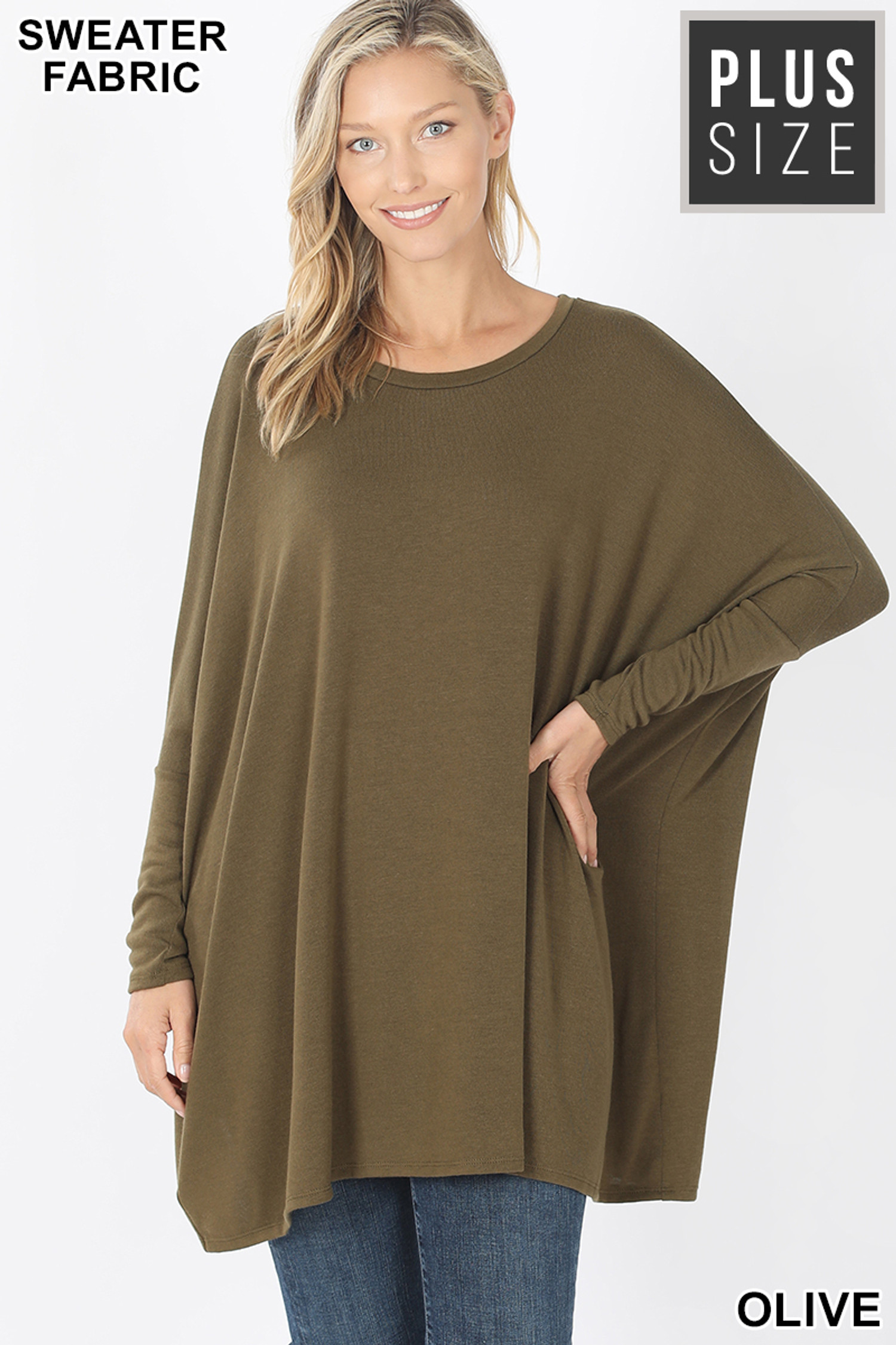 Front view of Olive Oversized Round Neck Poncho Plus Size Sweater