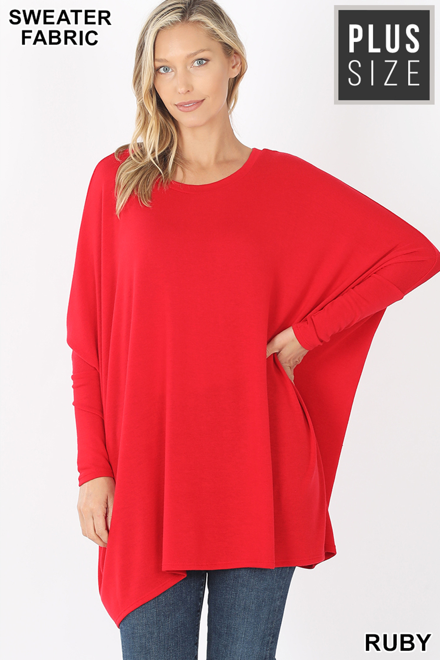 Front view of Ruby Oversized Round Neck Poncho Plus Size Sweater
