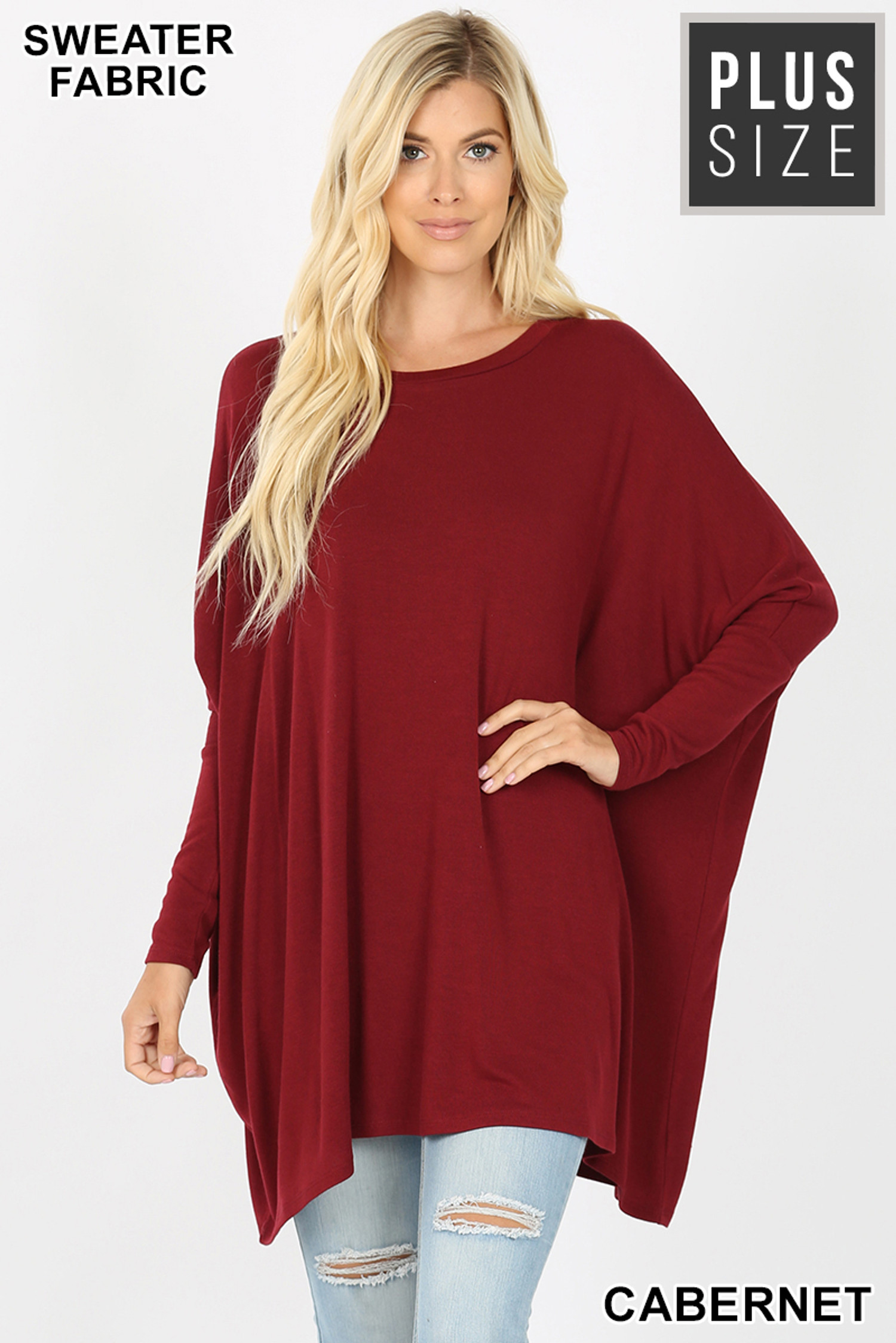 Front view of Cabernet Oversized Round Neck Poncho Plus Size Sweater