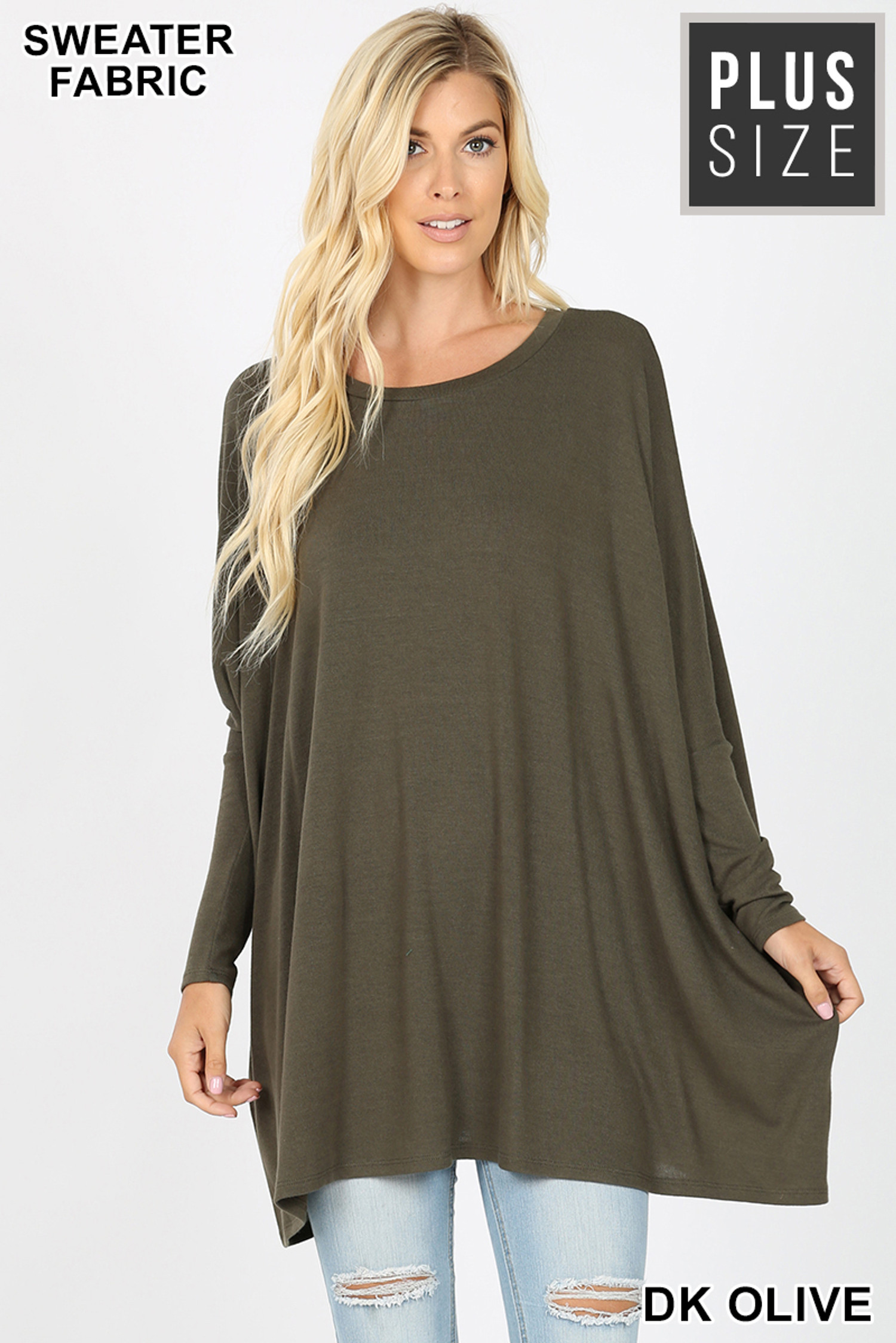 Oversized Round Neck Poncho Plus Size Sweater
