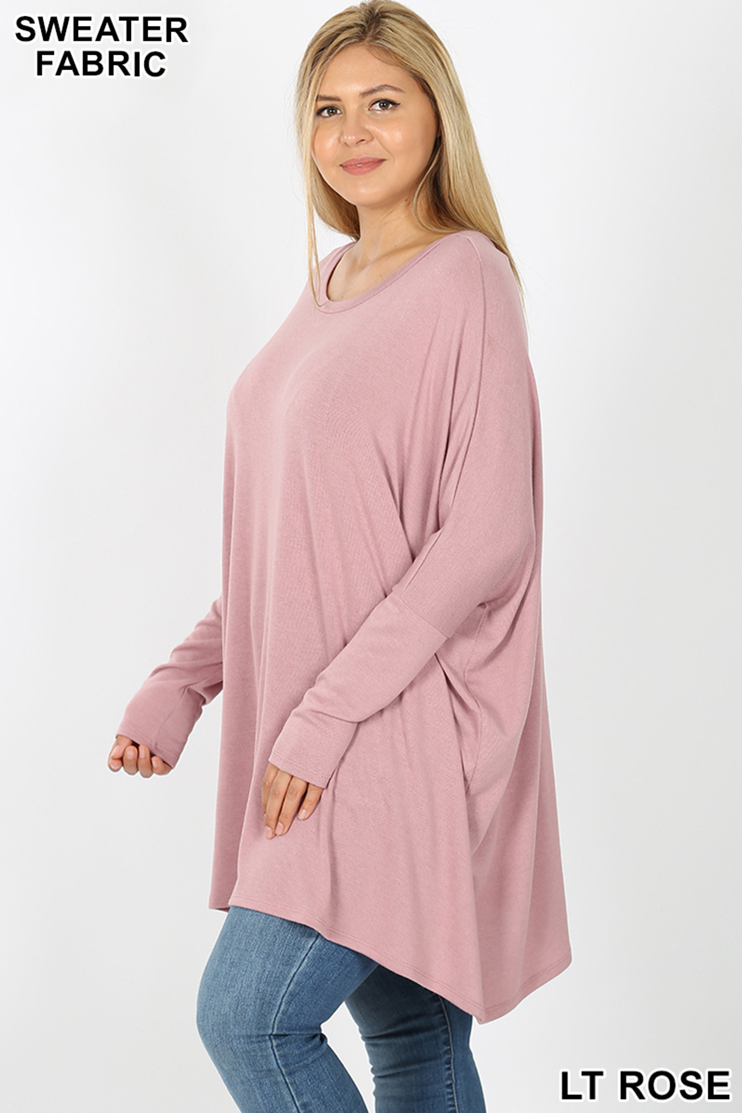 Left side view of Lt Rose Oversized Round Neck Poncho Plus Size Sweater