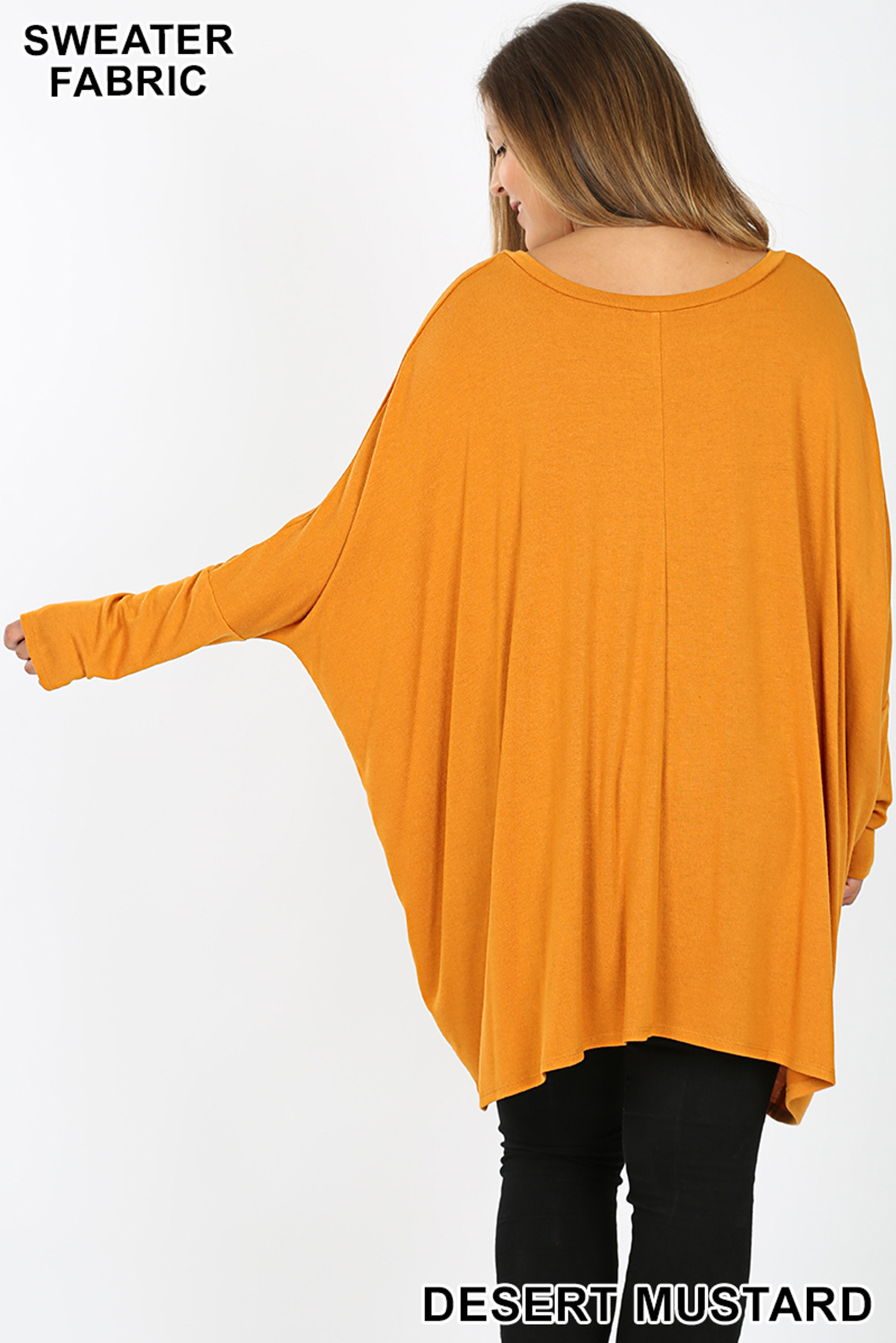 Back view image of Desert Mustard Oversized Round Neck Poncho Plus Size Sweater