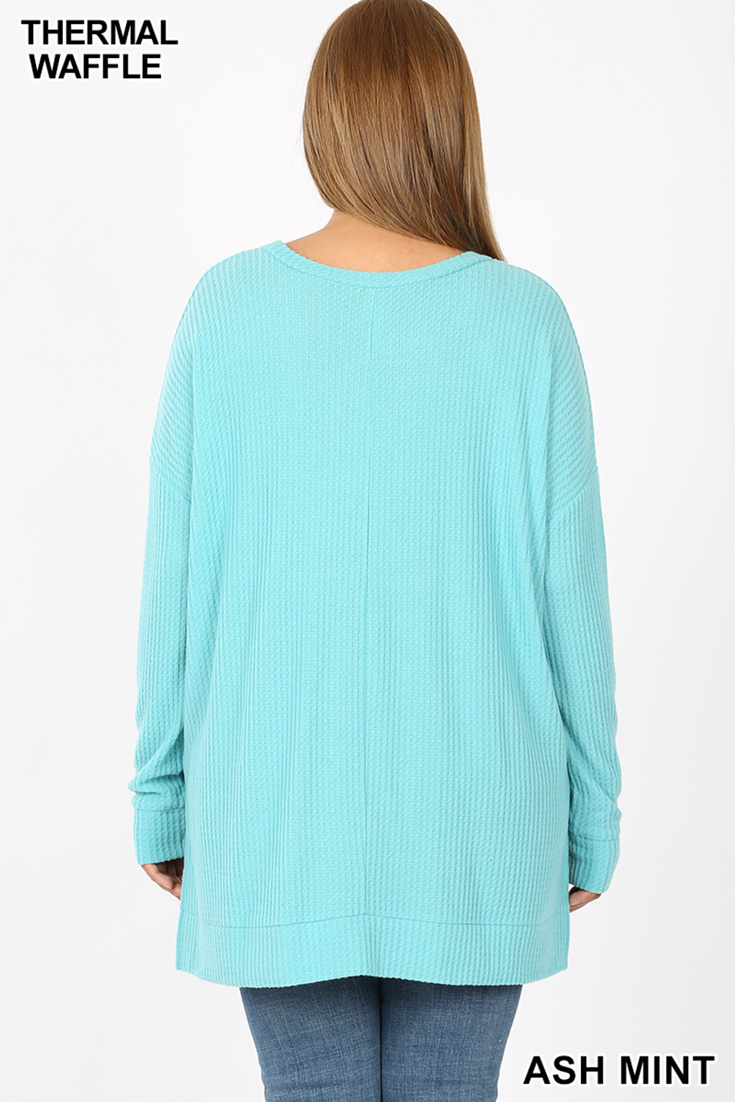 Back view image of Ash Mint Brushed Thermal Waffle Knit Round Neck Plus Size Sweater