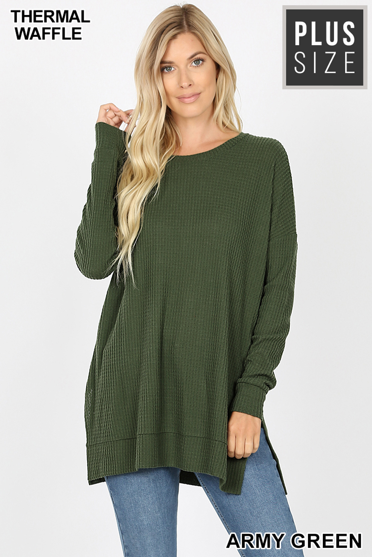 Front image of Army Green Brushed Thermal Waffle Knit Round Neck Plus Size Sweater