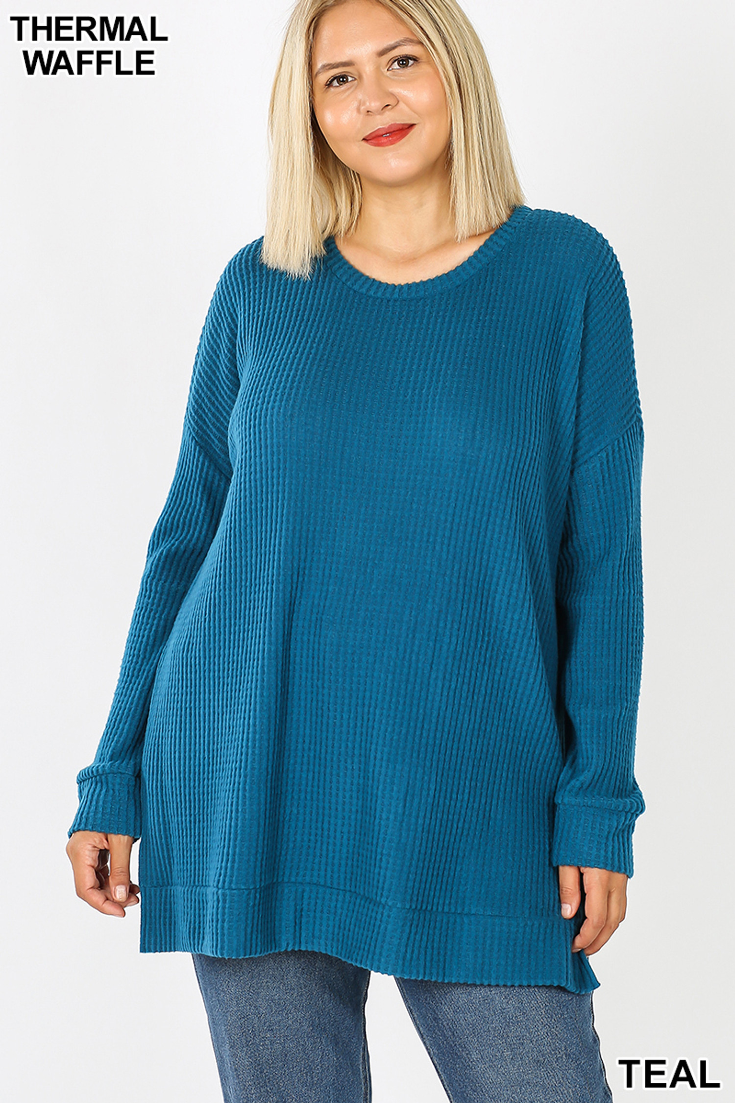 Front image of Teal Brushed Thermal Waffle Knit Round Neck Plus Size Sweater