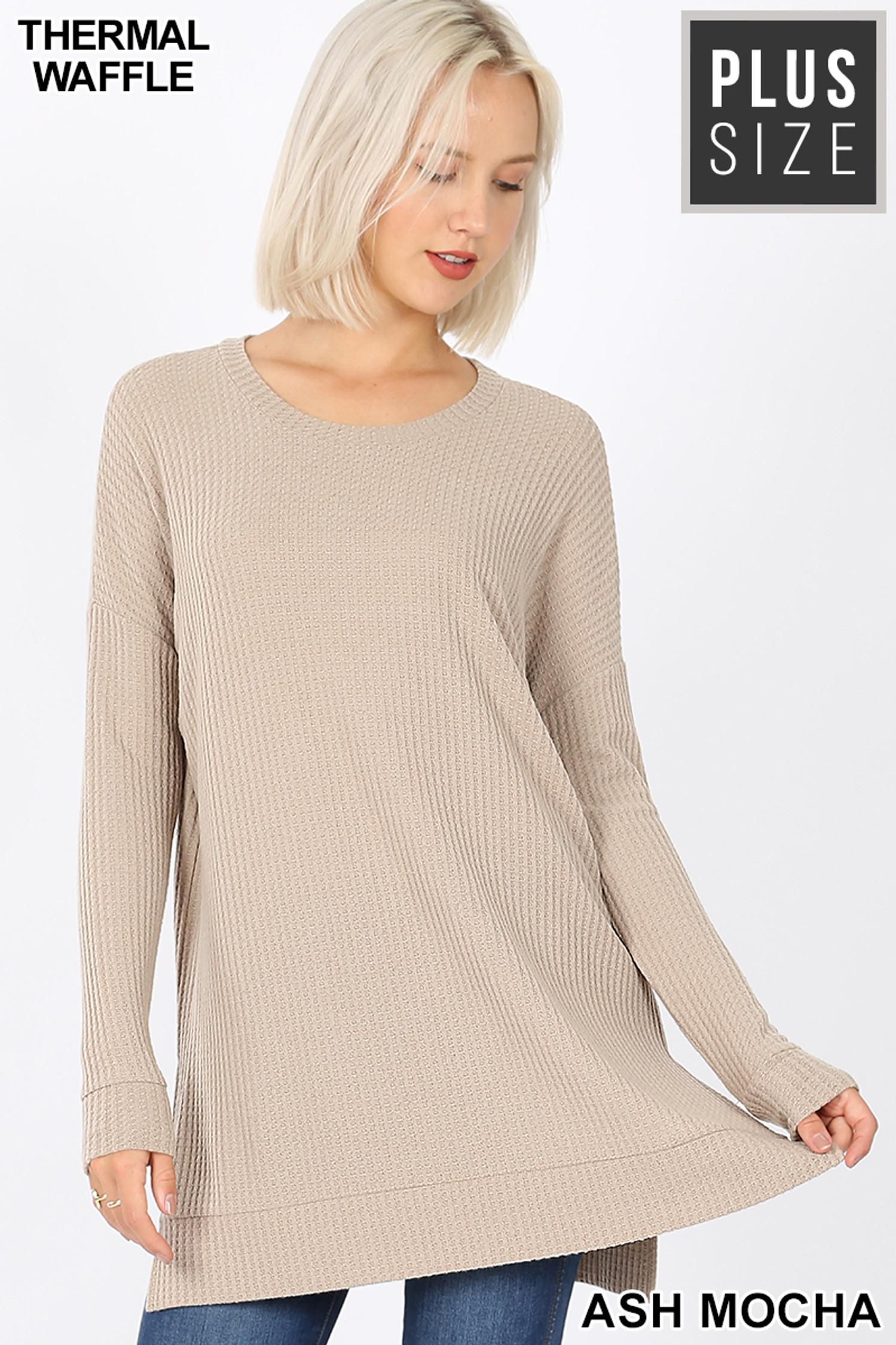 Front image of Ash Mocha Brushed Thermal Waffle Knit Round Neck Plus Size Sweater