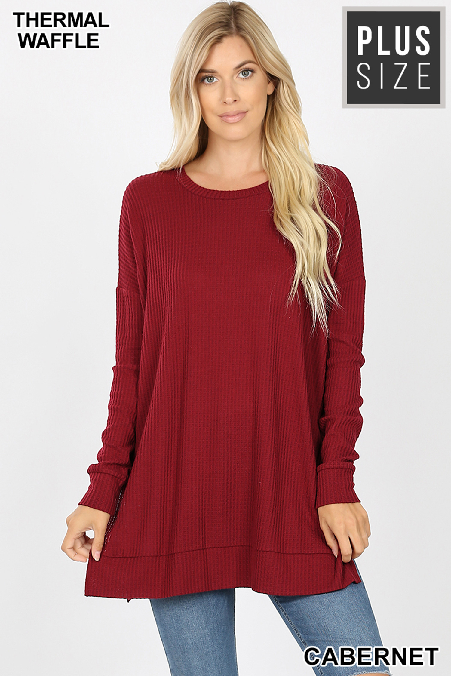 Front image of Cabernet Brushed Thermal Waffle Knit Round Neck Plus Size Sweater