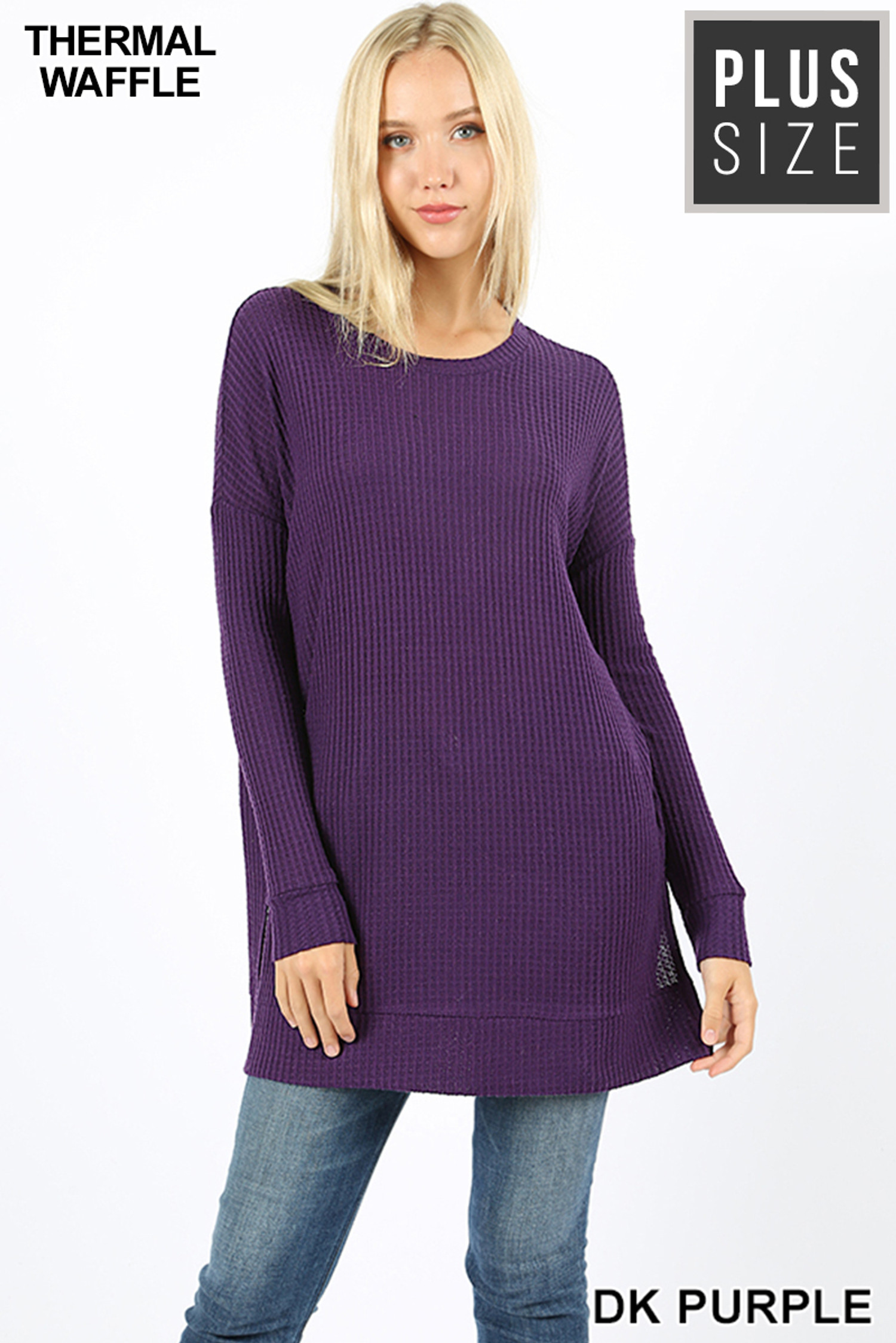 Front image of Dk Purple Brushed Thermal Waffle Knit Round Neck Plus Size Sweater