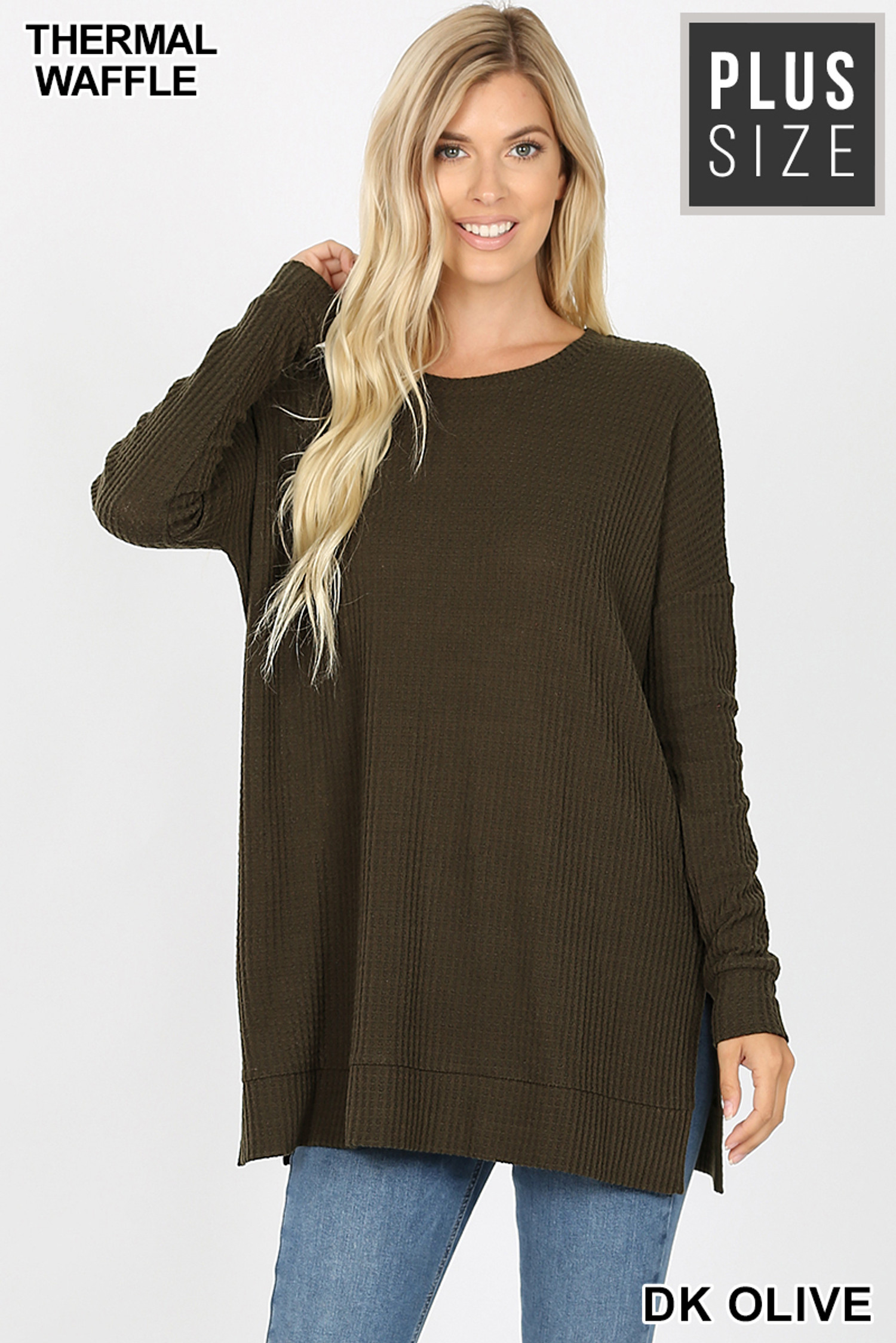 Front image of Dk Olive Brushed Thermal Waffle Knit Round Neck Plus Size Sweater