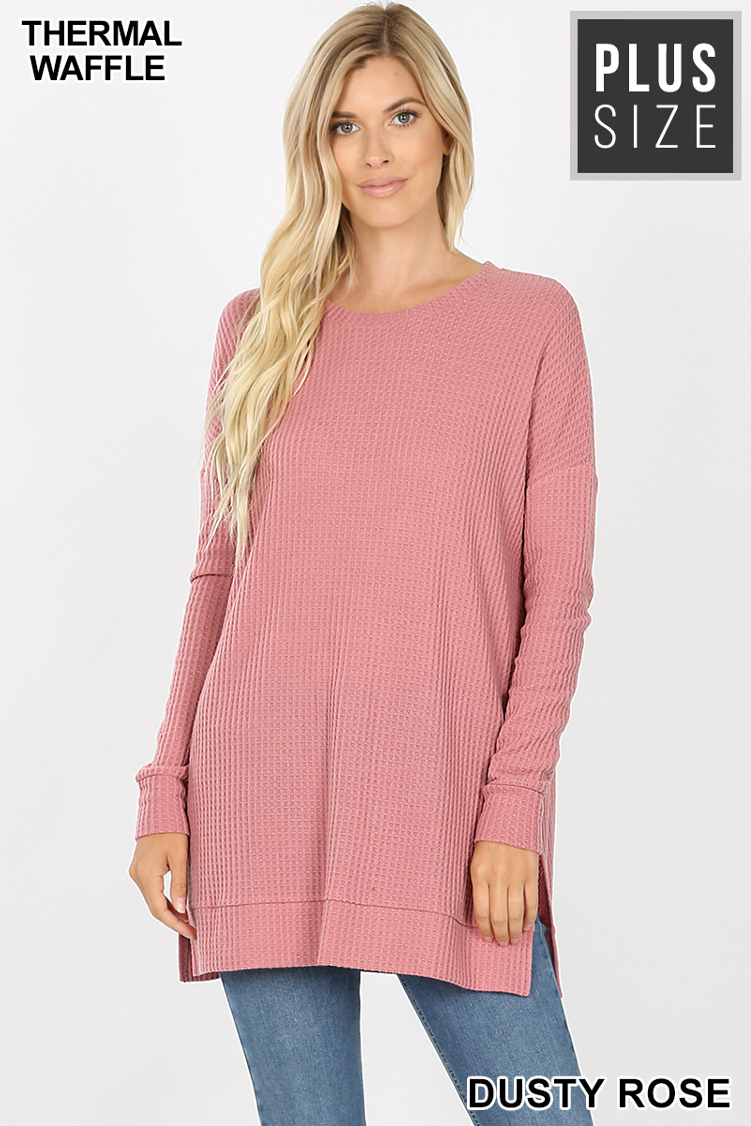 Front image of Dusty Rose Brushed Thermal Waffle Knit Round Neck Plus Size Sweater