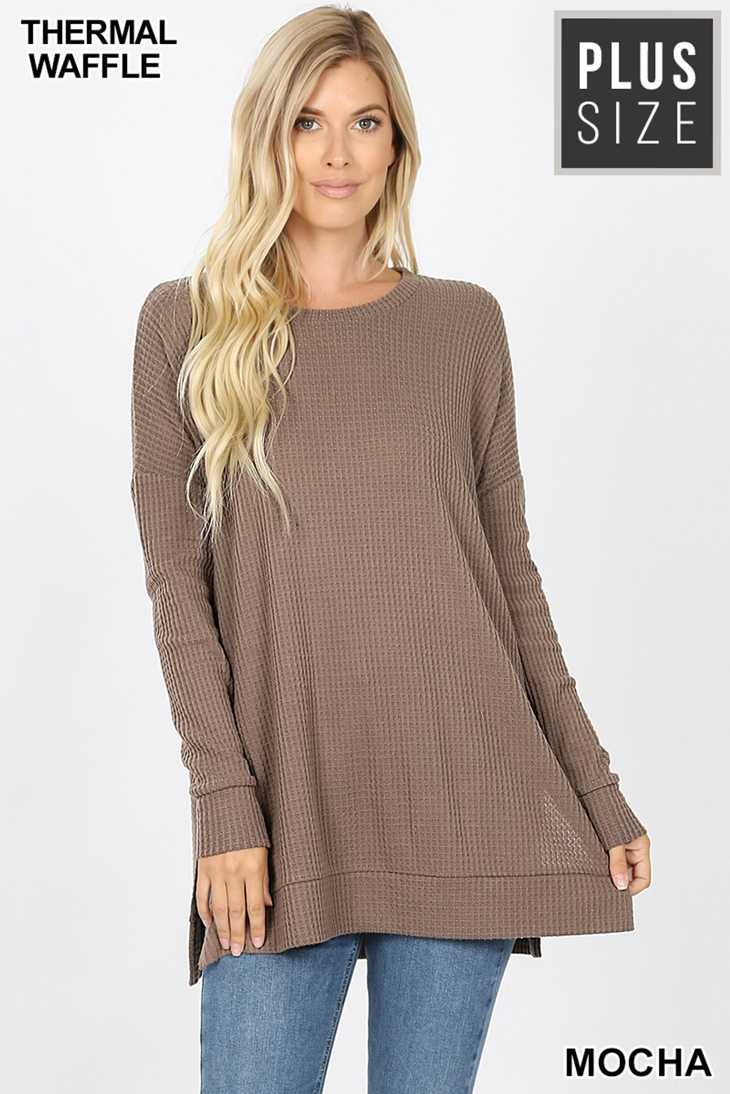 Front image of Mocha Brushed Thermal Waffle Knit Round Neck Plus Size Sweater