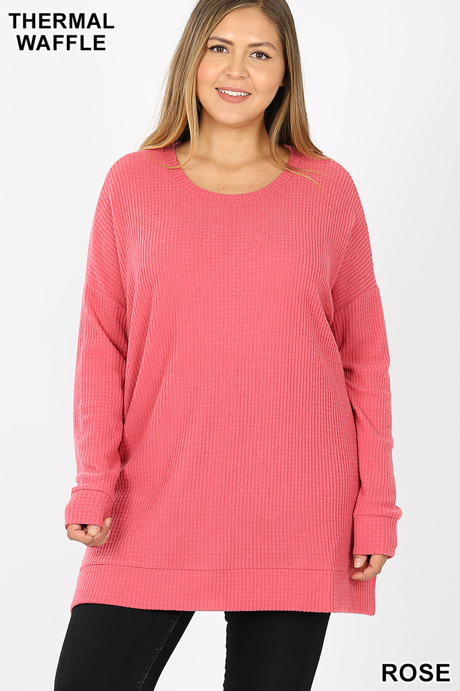 Front image of Rose Brushed Thermal Waffle Knit Round Neck Plus Size Sweater