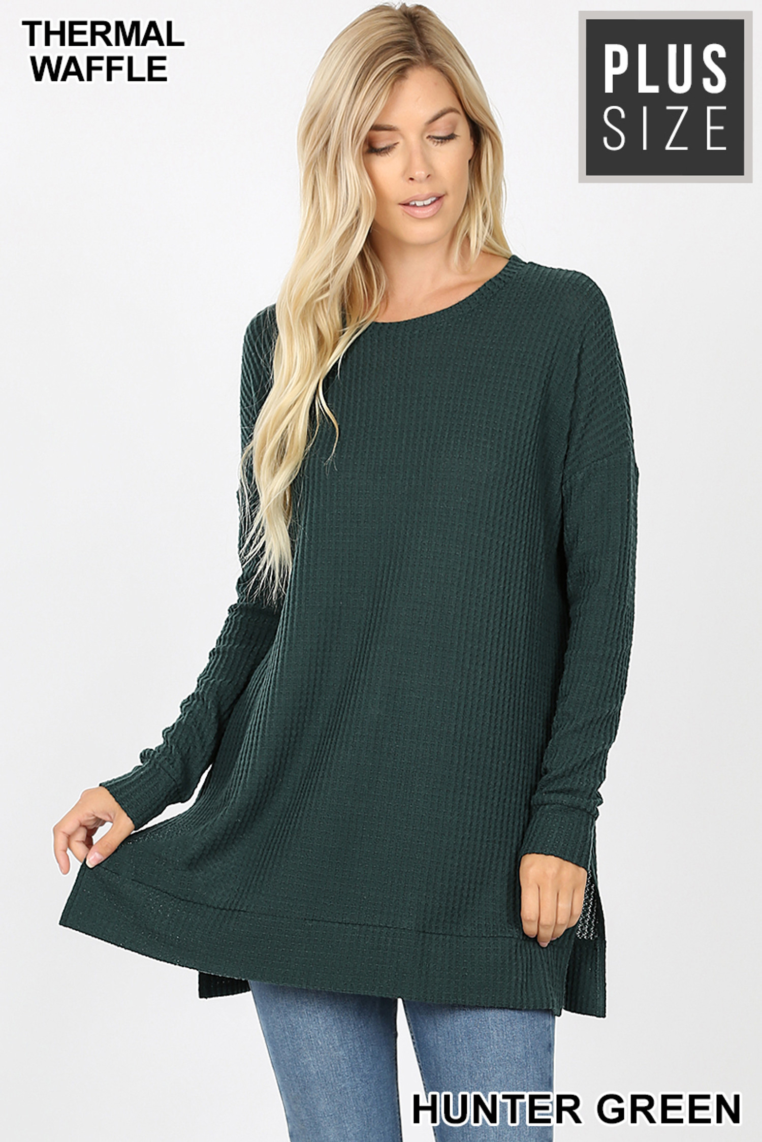 Front image of Hunter Green Brushed Thermal Waffle Knit Round Neck Plus Size Sweater