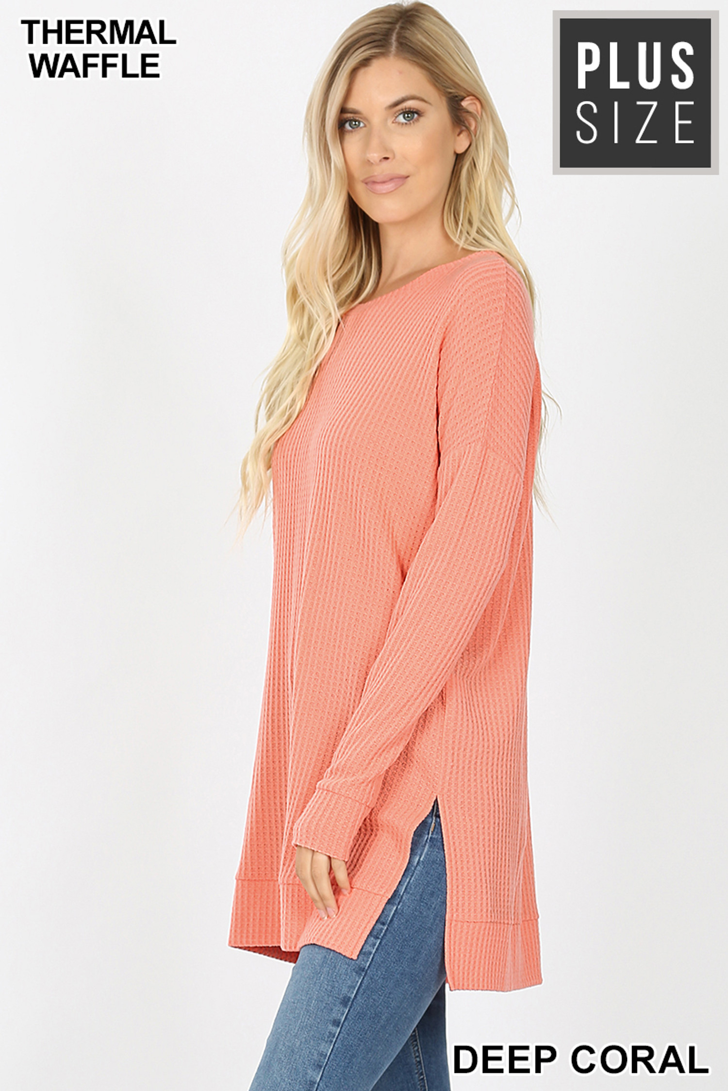 Left side image of Deep Coral Brushed Thermal Waffle Knit Round Neck Plus Size Sweater