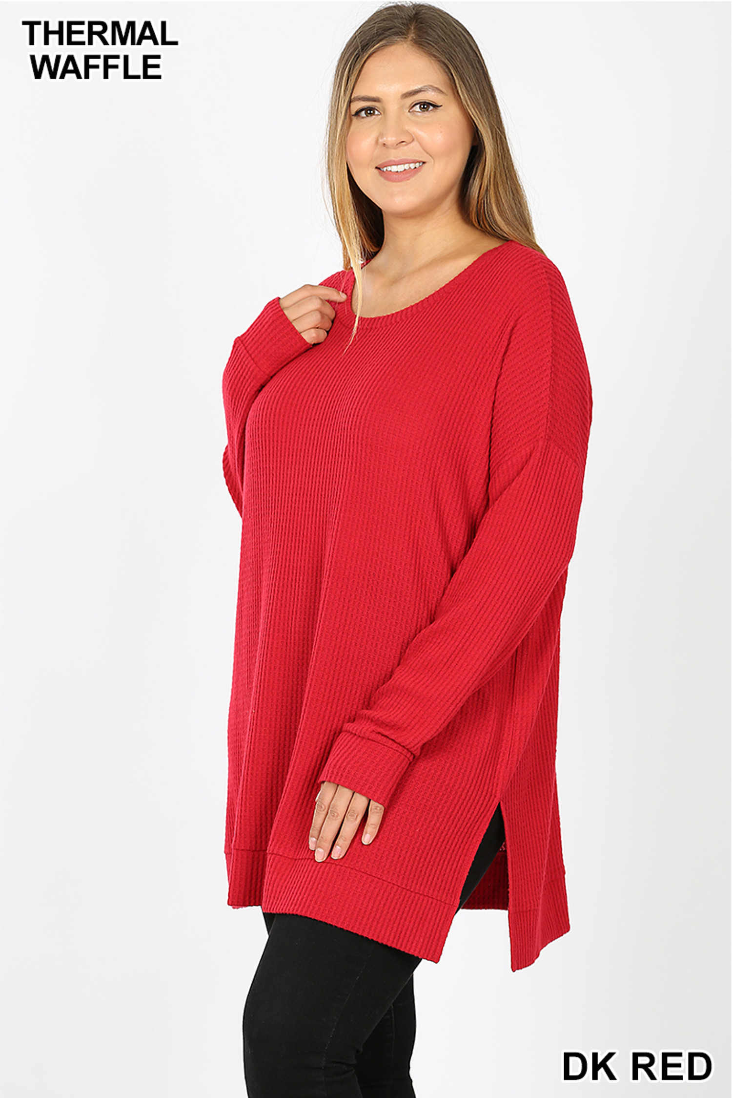 Left side image of  Dk Red Brushed Thermal Waffle Knit Round Neck Plus Size Sweater