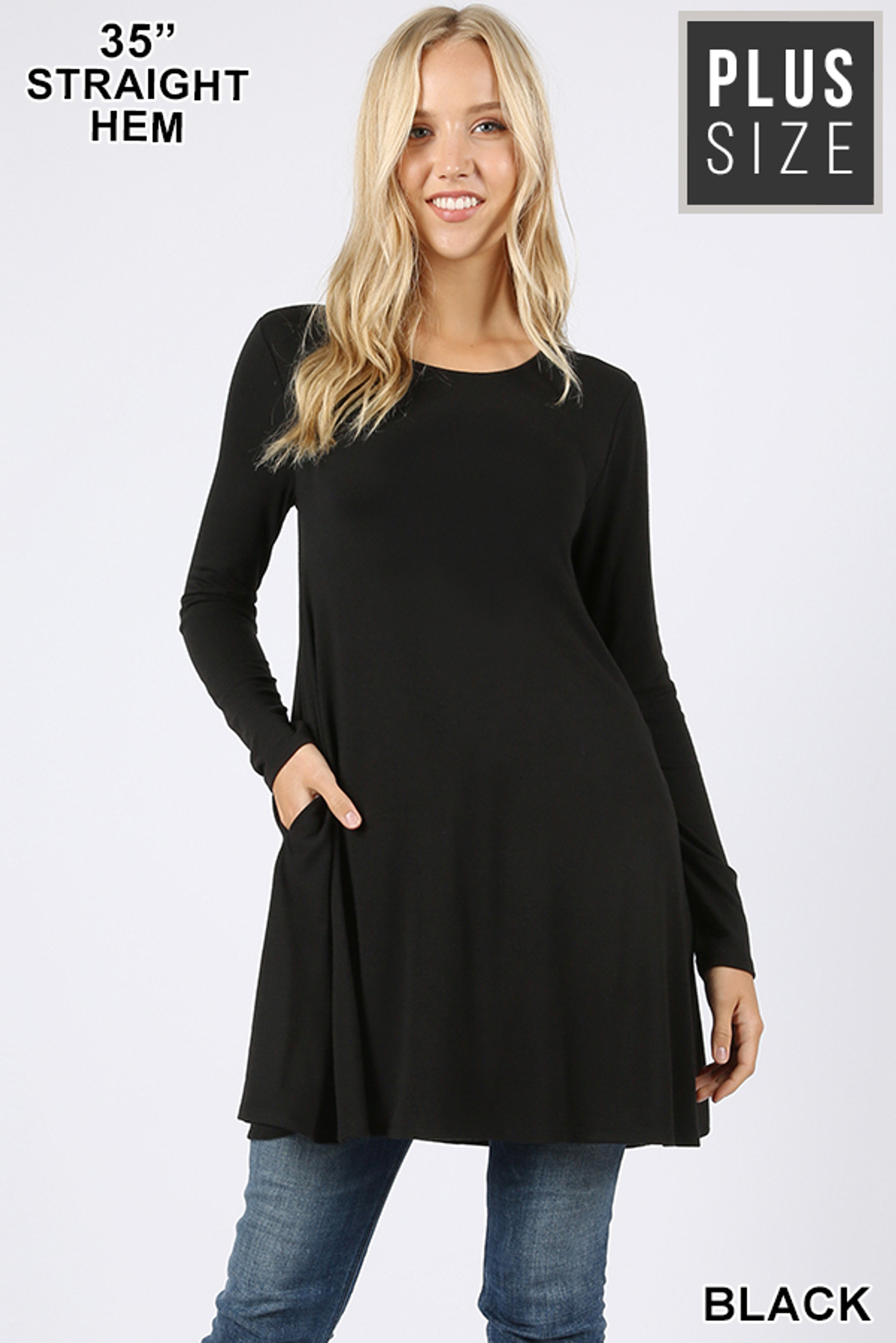Front of Black Long Sleeve Plus Size Swing Tunic with Pockets