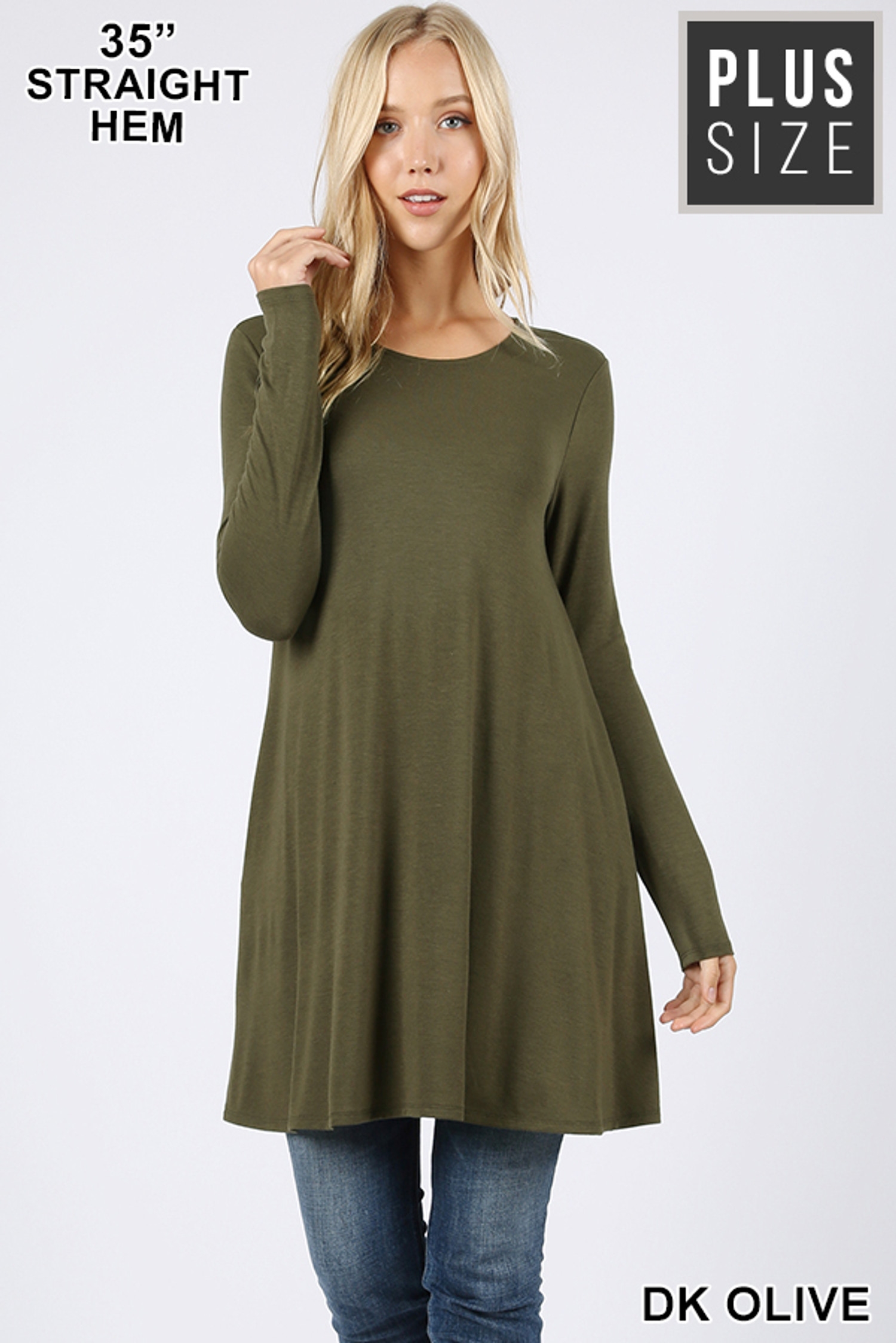 Front of Dk Olive Long Sleeve Plus Size Swing Tunic with Pockets