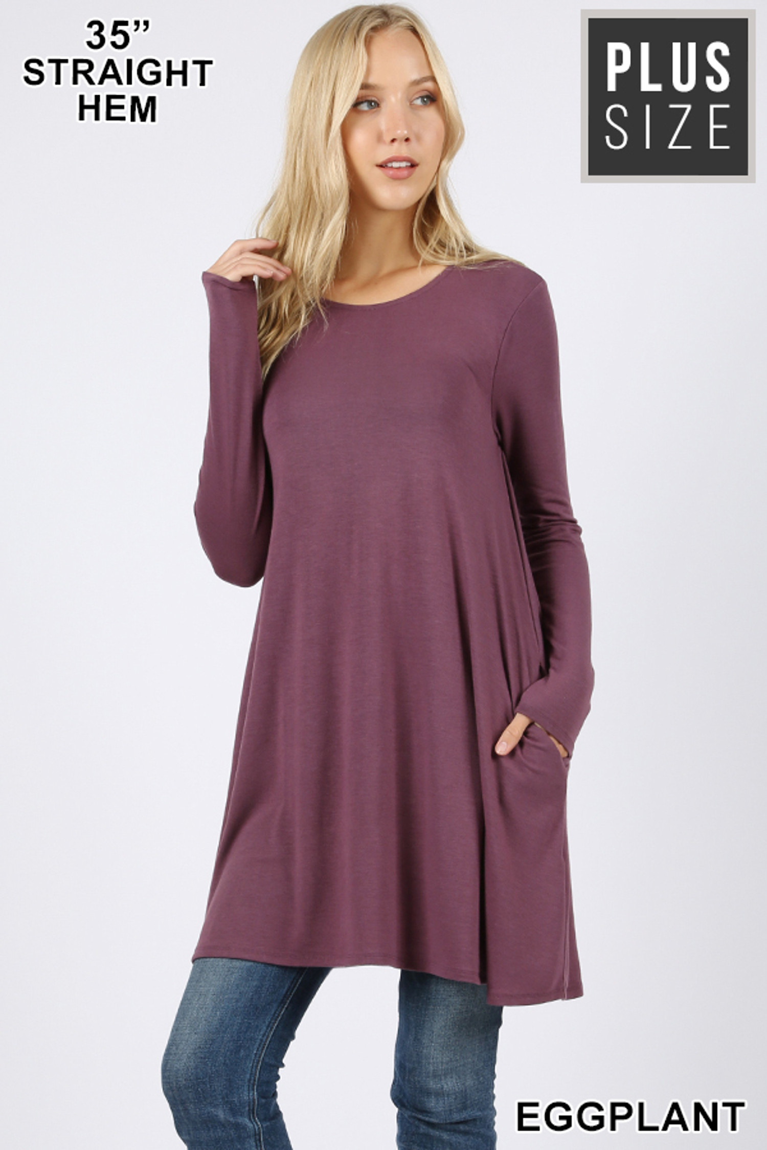 Front of Eggplant Long Sleeve Plus Size Swing Tunic with Pockets