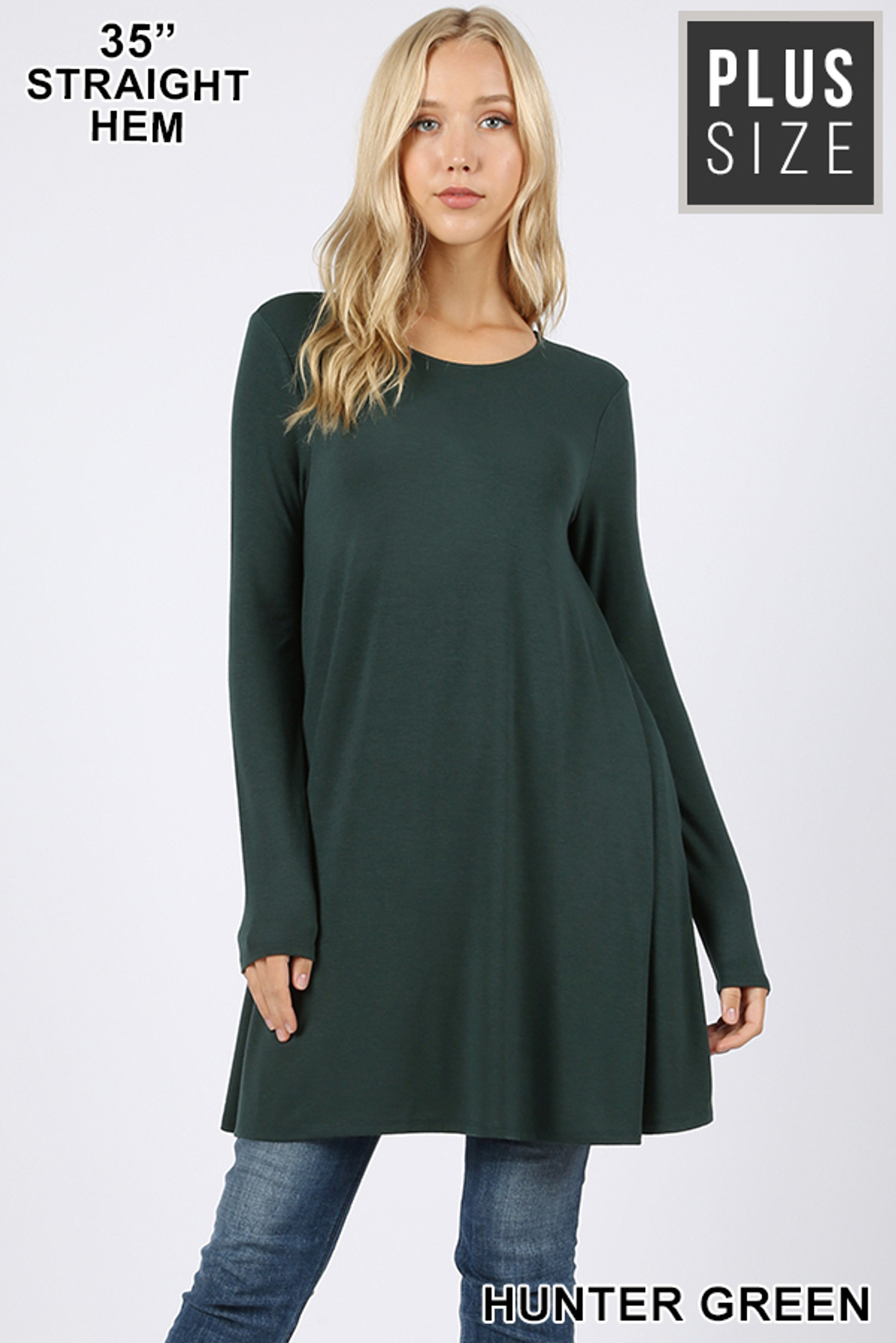 Front of Hunter Green Long Sleeve Plus Size Swing Tunic with Pockets