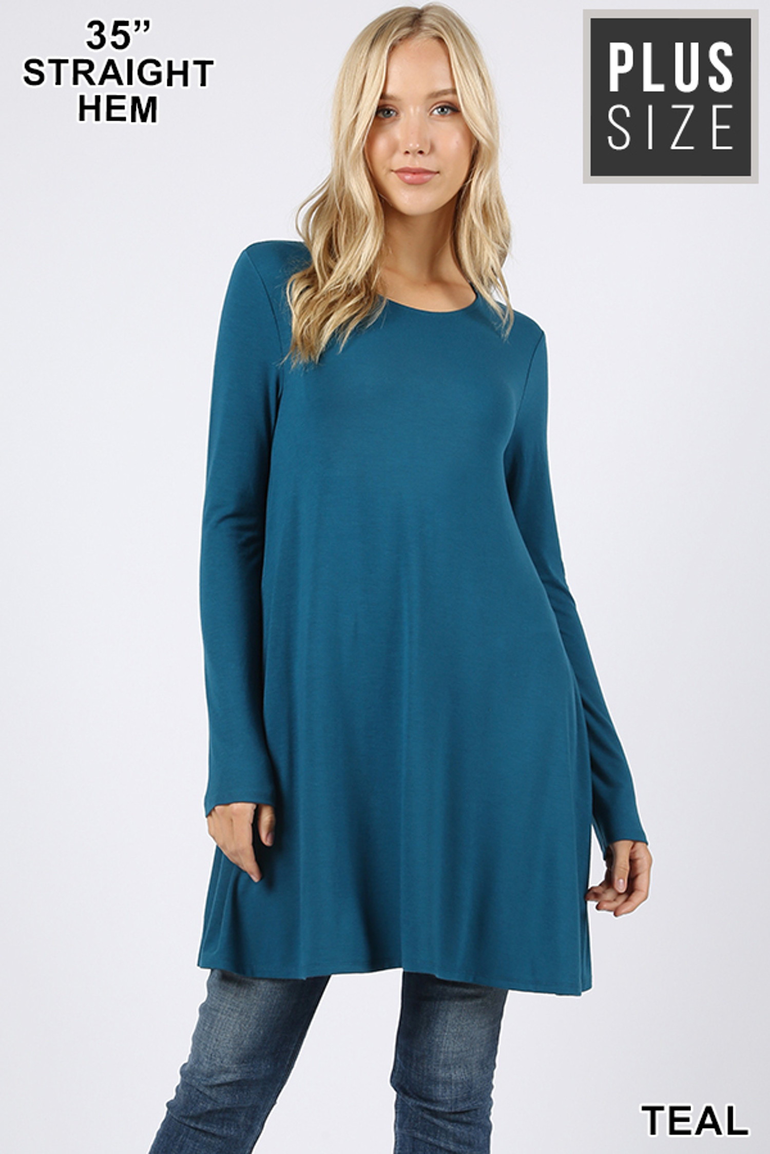 Front of Teal Long Sleeve Plus Size Swing Tunic with Pockets