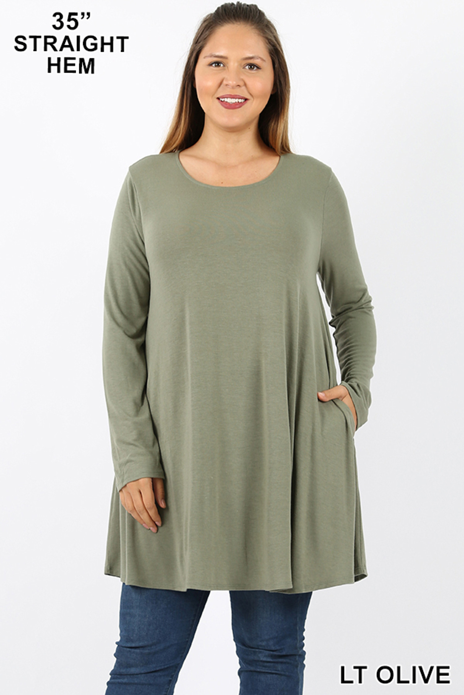 Front of Lt Olive Long Sleeve Plus Size Swing Tunic with Pockets