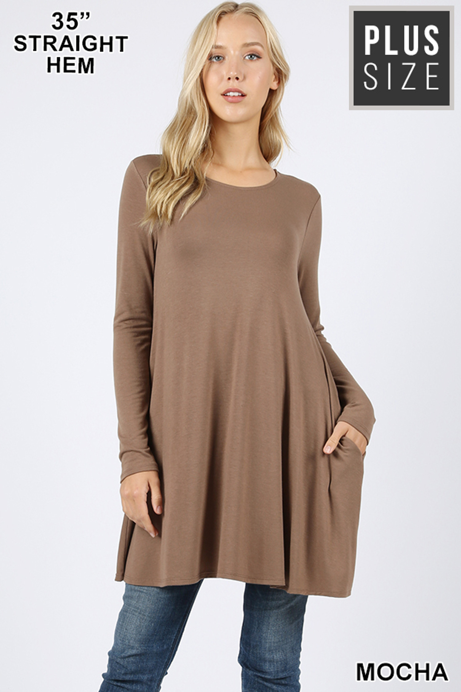 Front of Mocha Long Sleeve Plus Size Swing Tunic with Pockets
