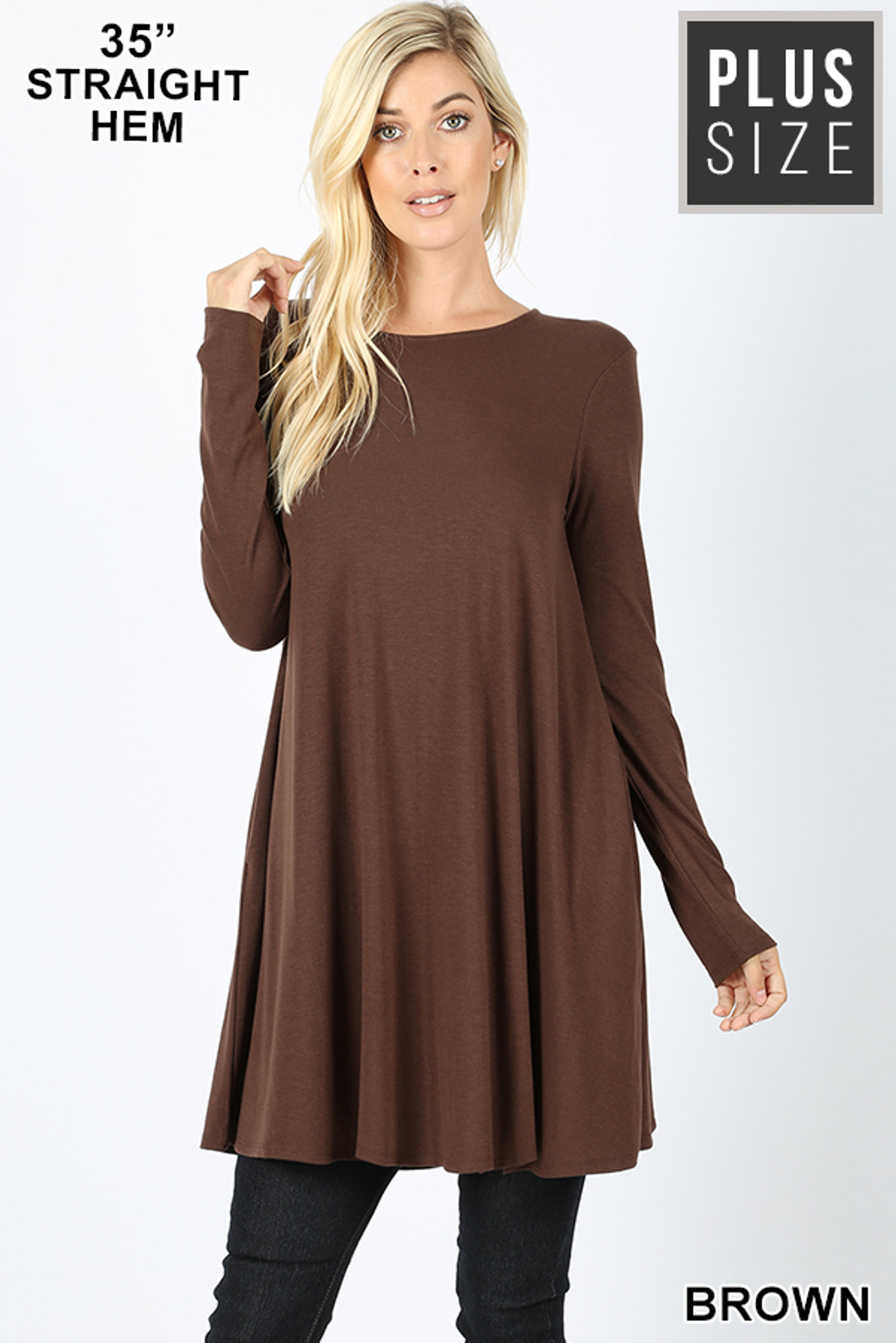 Front of Brown Long Sleeve Plus Size Swing Tunic with Pockets