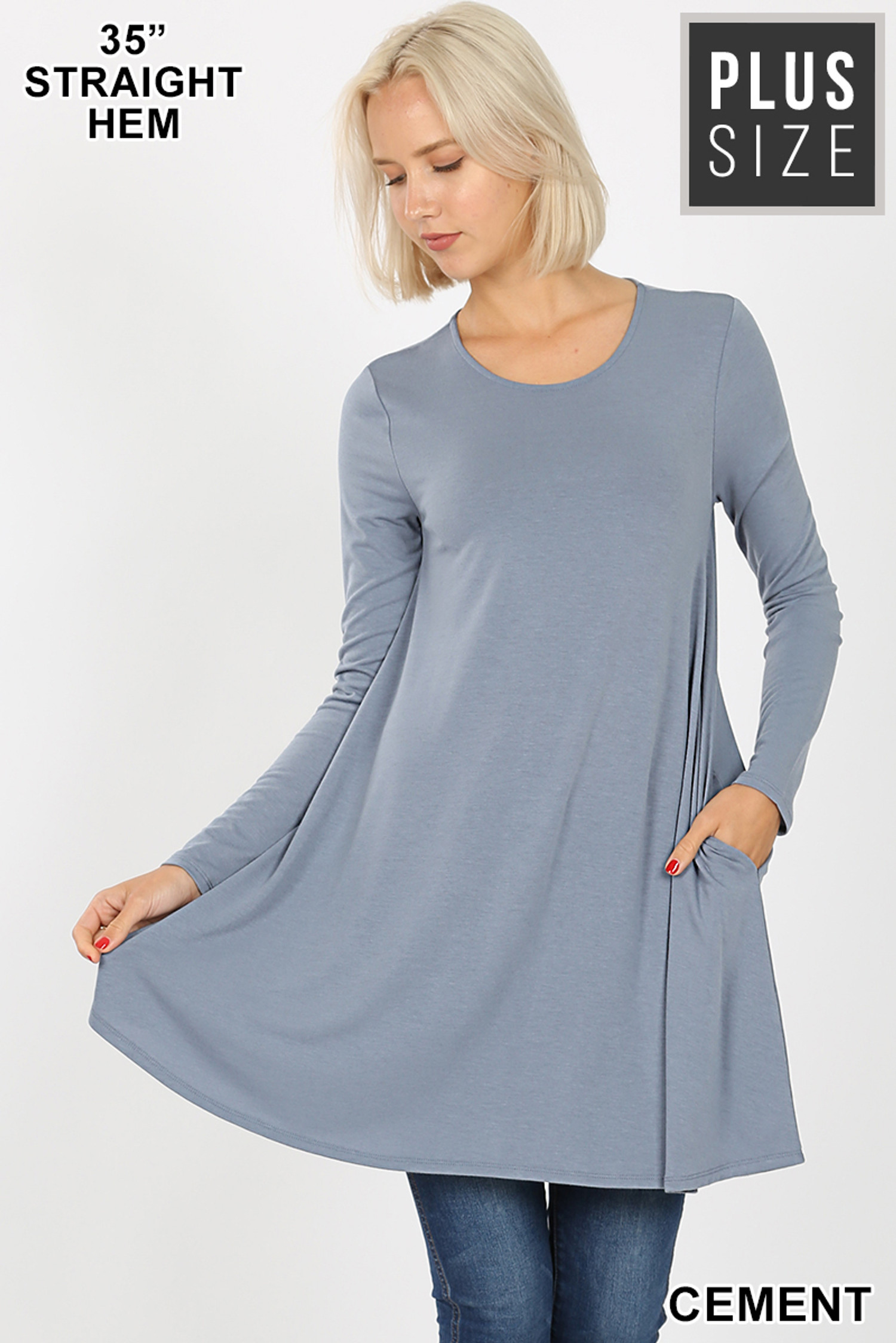 Front of Cement Long Sleeve Plus Size Swing Tunic with Pockets