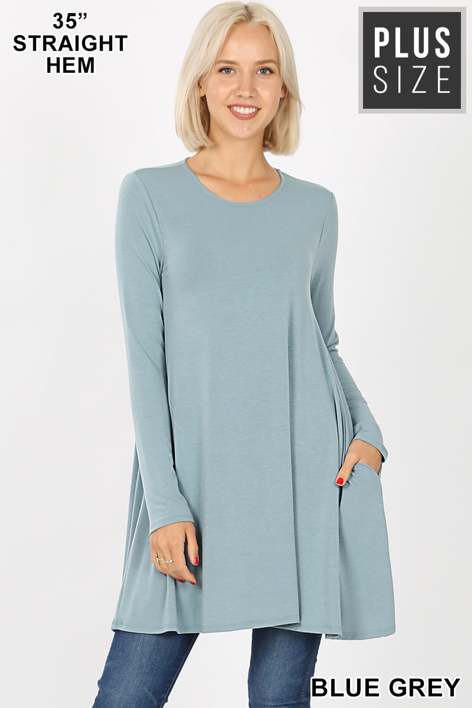 Front of Blue Grey Long Sleeve Plus Size Swing Tunic with Pockets