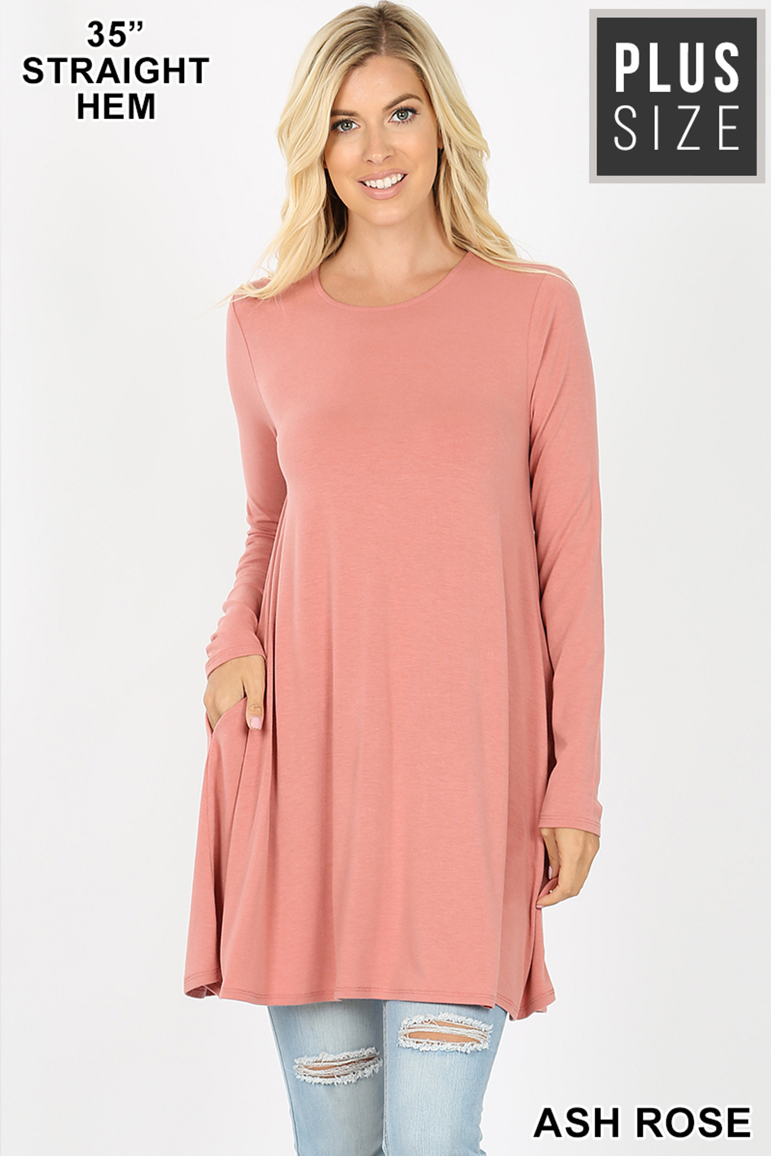 Front of Ash Rose Long Sleeve Plus Size Swing Tunic with Pockets