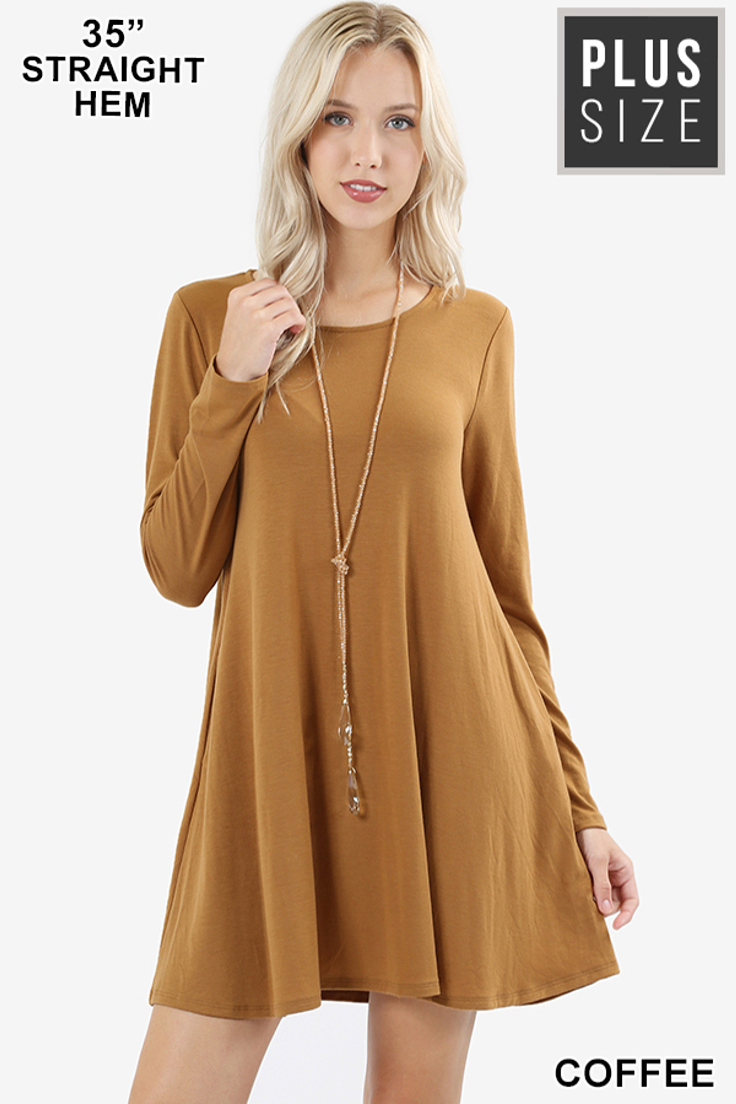 Front of Coffee Long Sleeve Plus Size Swing Tunic with Pockets