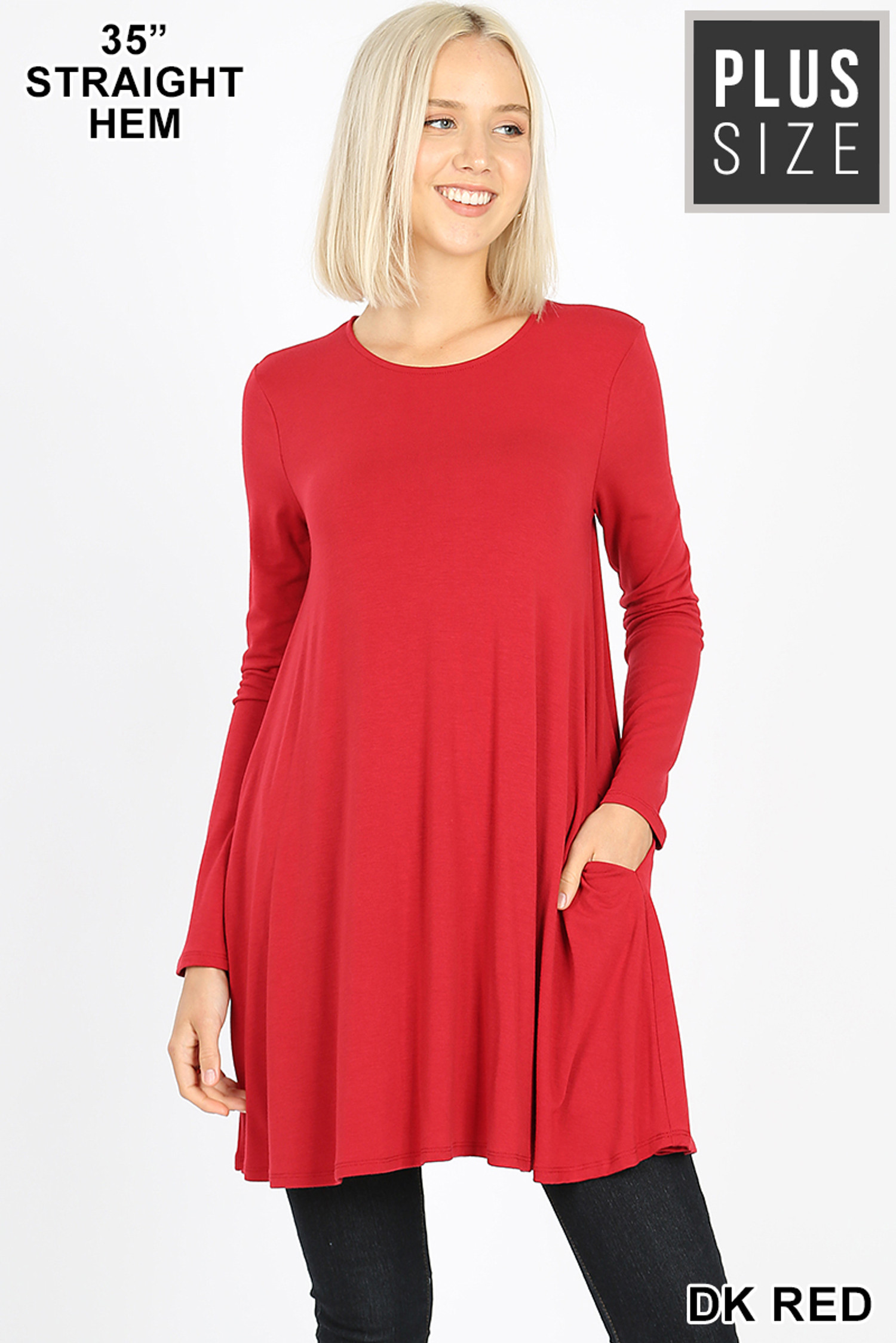 Front of Dk Red Long Sleeve Plus Size Swing Tunic with Pockets