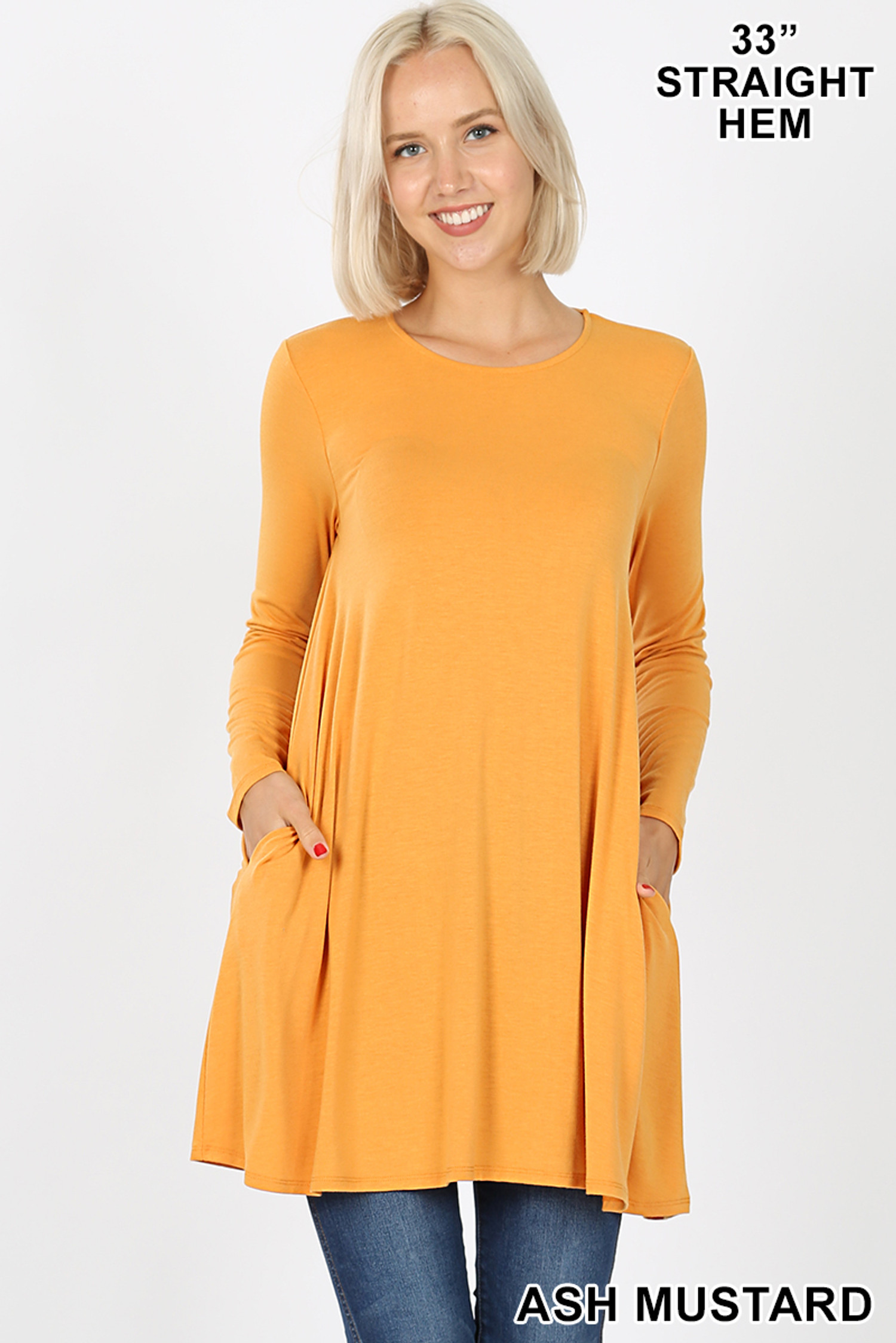 Front of Ash Mustard Long Sleeve Swing Tunic with Pockets