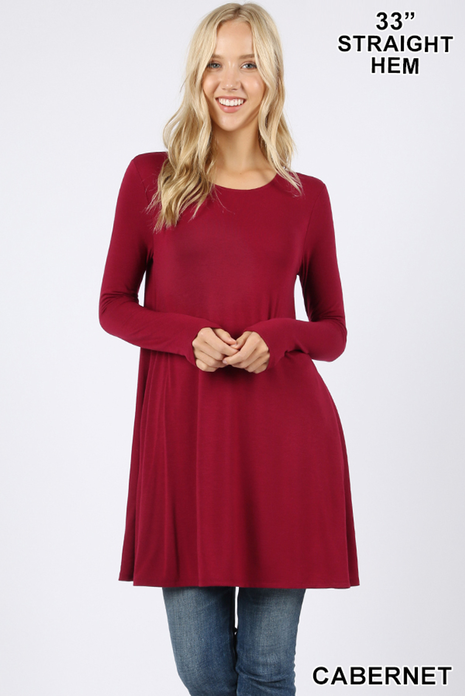 Front of Cabernet Long Sleeve Swing Tunic with Pockets