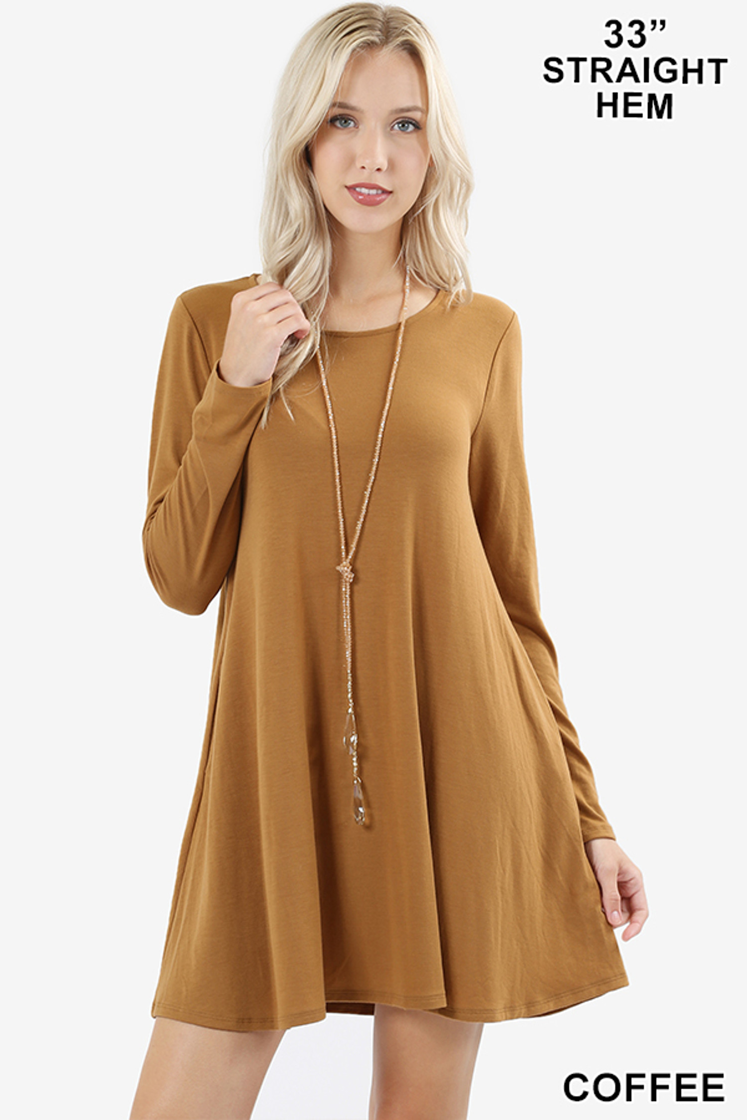 Front of Coffee Long Sleeve Swing Tunic with Pockets