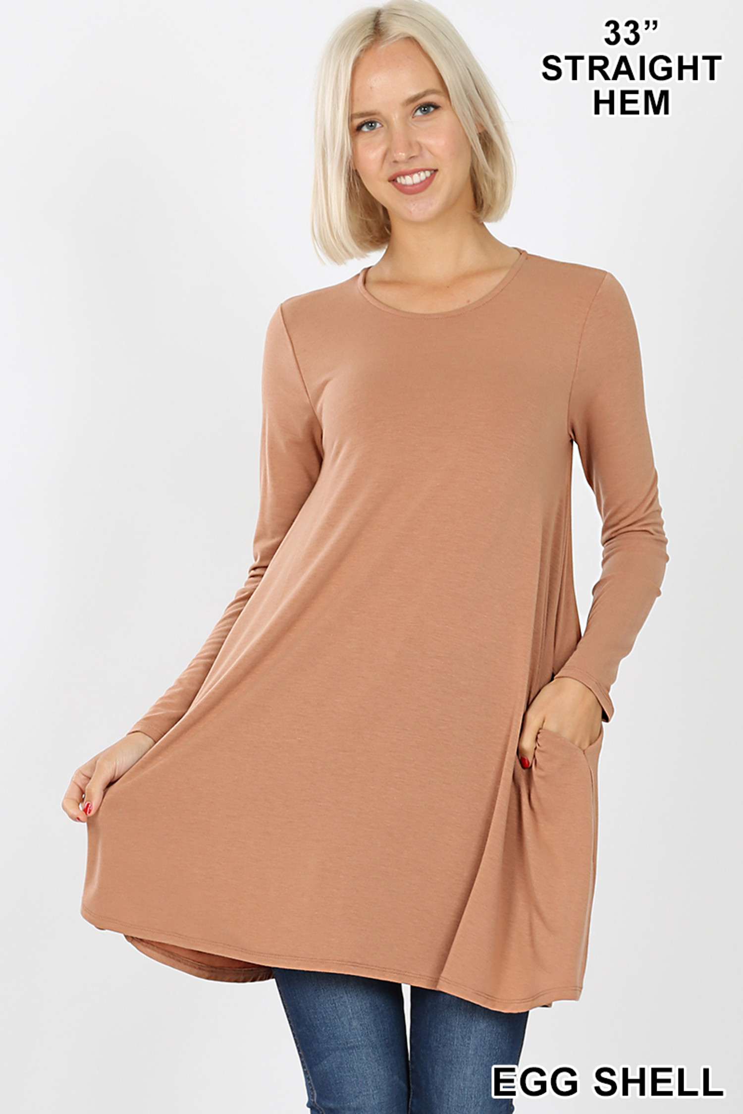 Front of Eggshell Long Sleeve Swing Tunic with Pockets