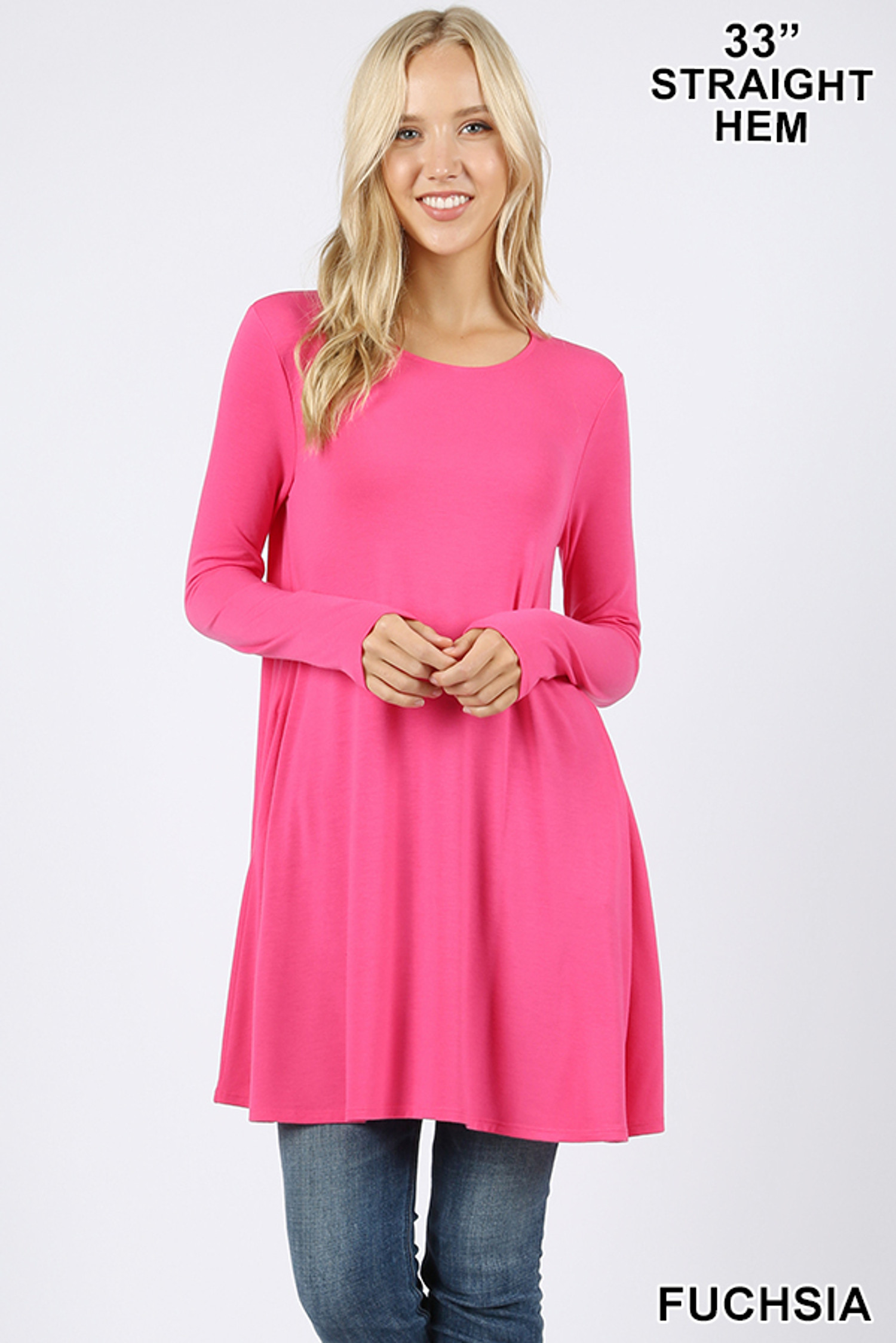 Front of Fuchsia Long Sleeve Swing Tunic with Pockets