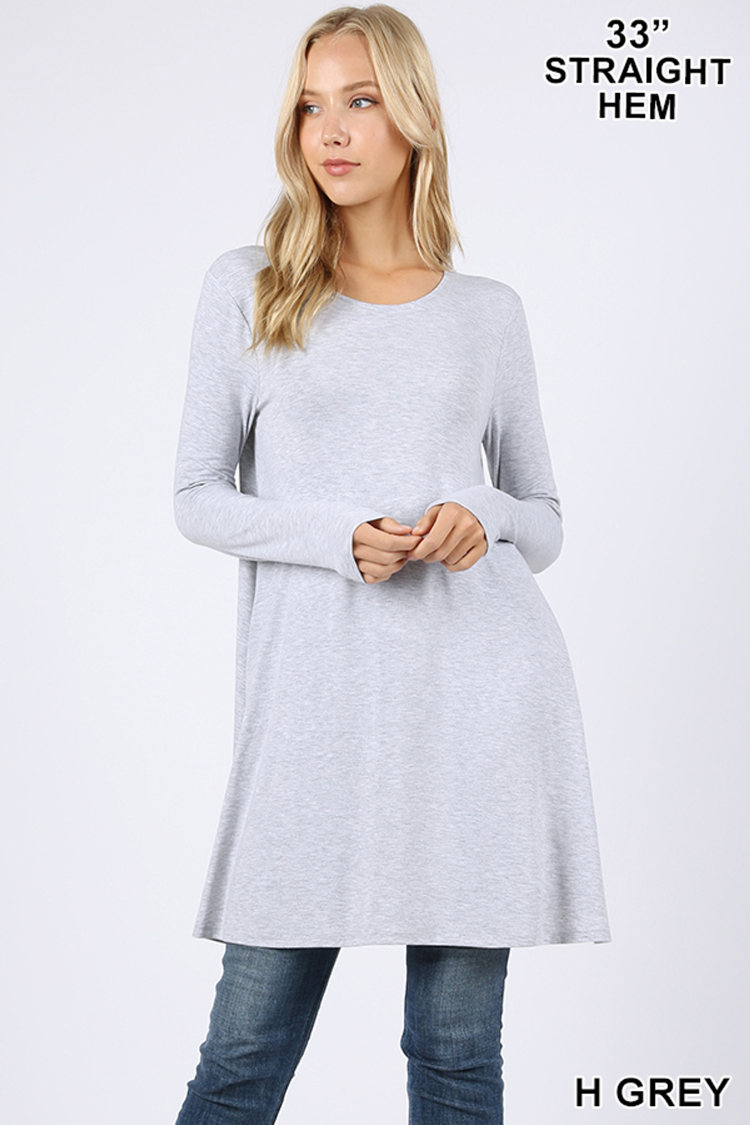 Front of Heather Grey Long Sleeve Swing Tunic with Pockets