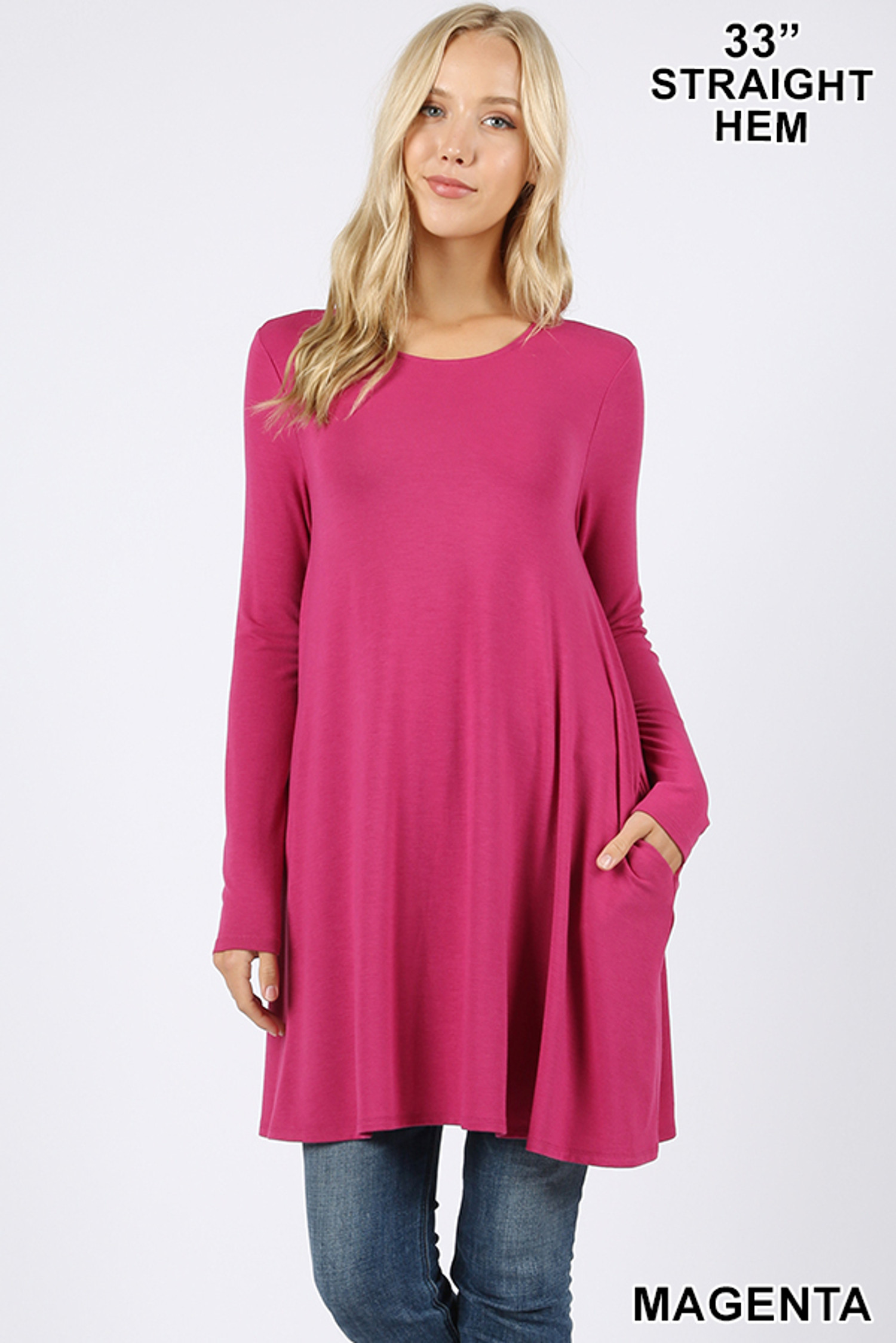 Front of Magenta Long Sleeve Swing Tunic with Pockets