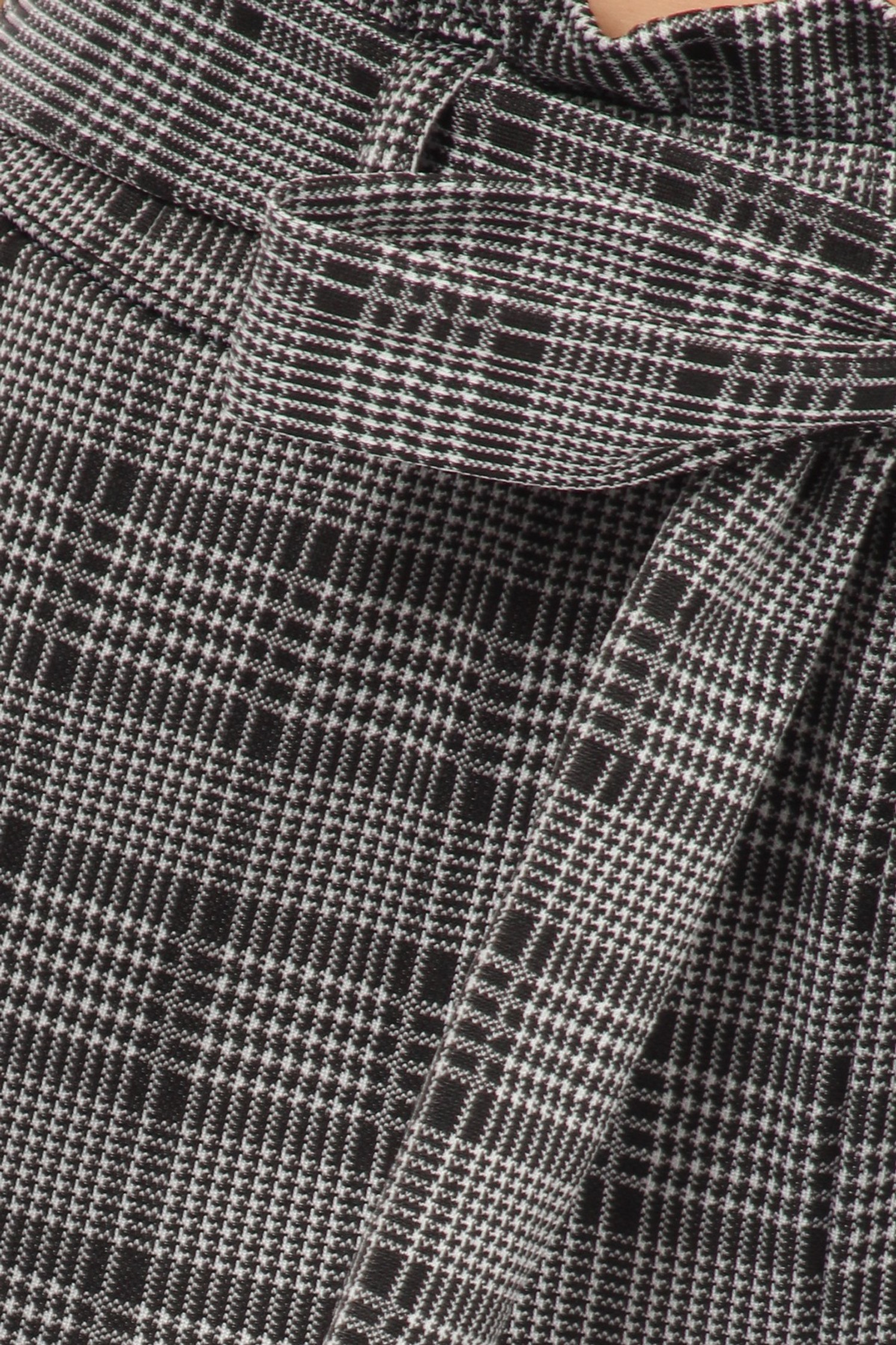 Glen Plaid High Waisted Paper Bag Tie Front Pants