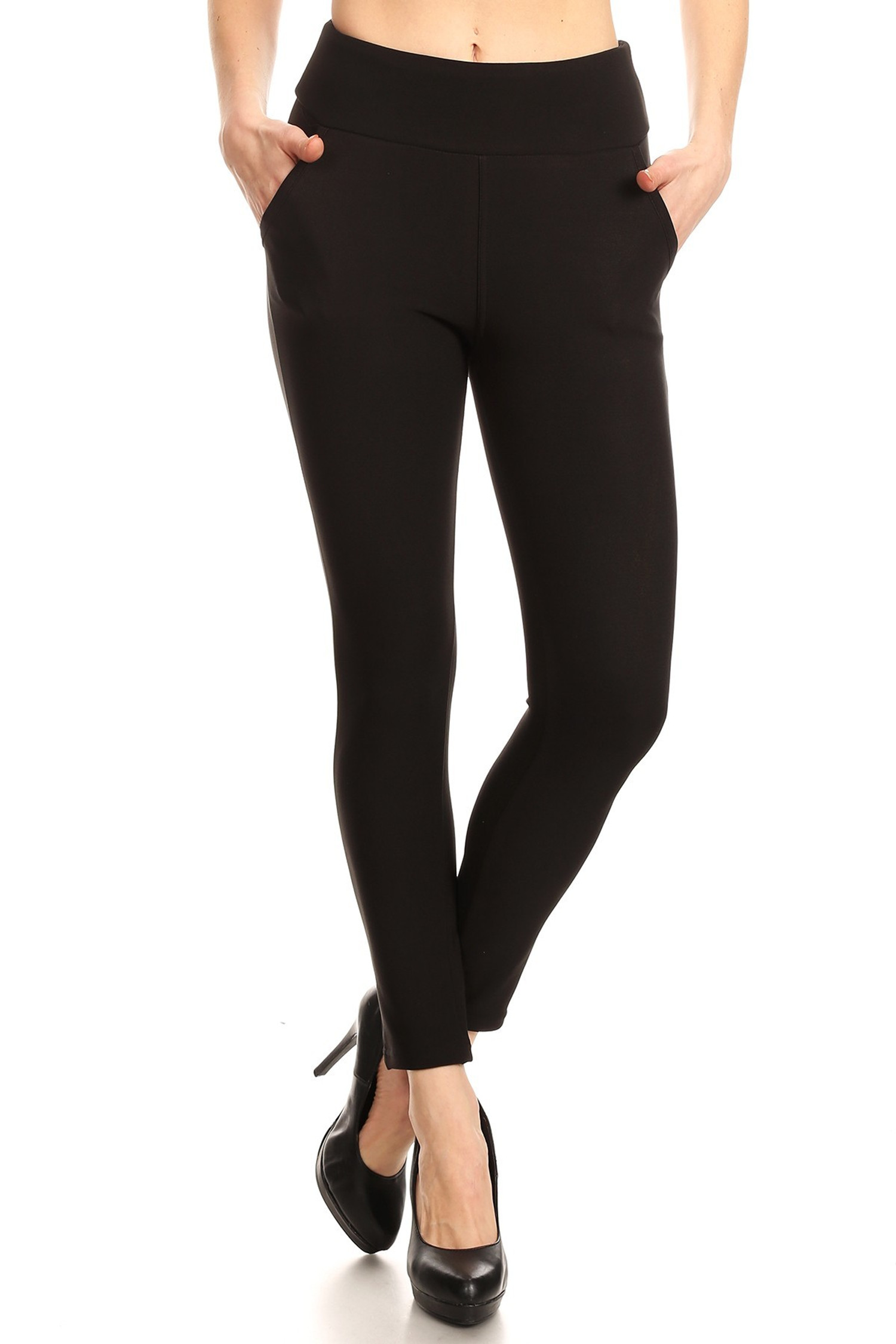 Black Body Sculpting Treggings with Pockets