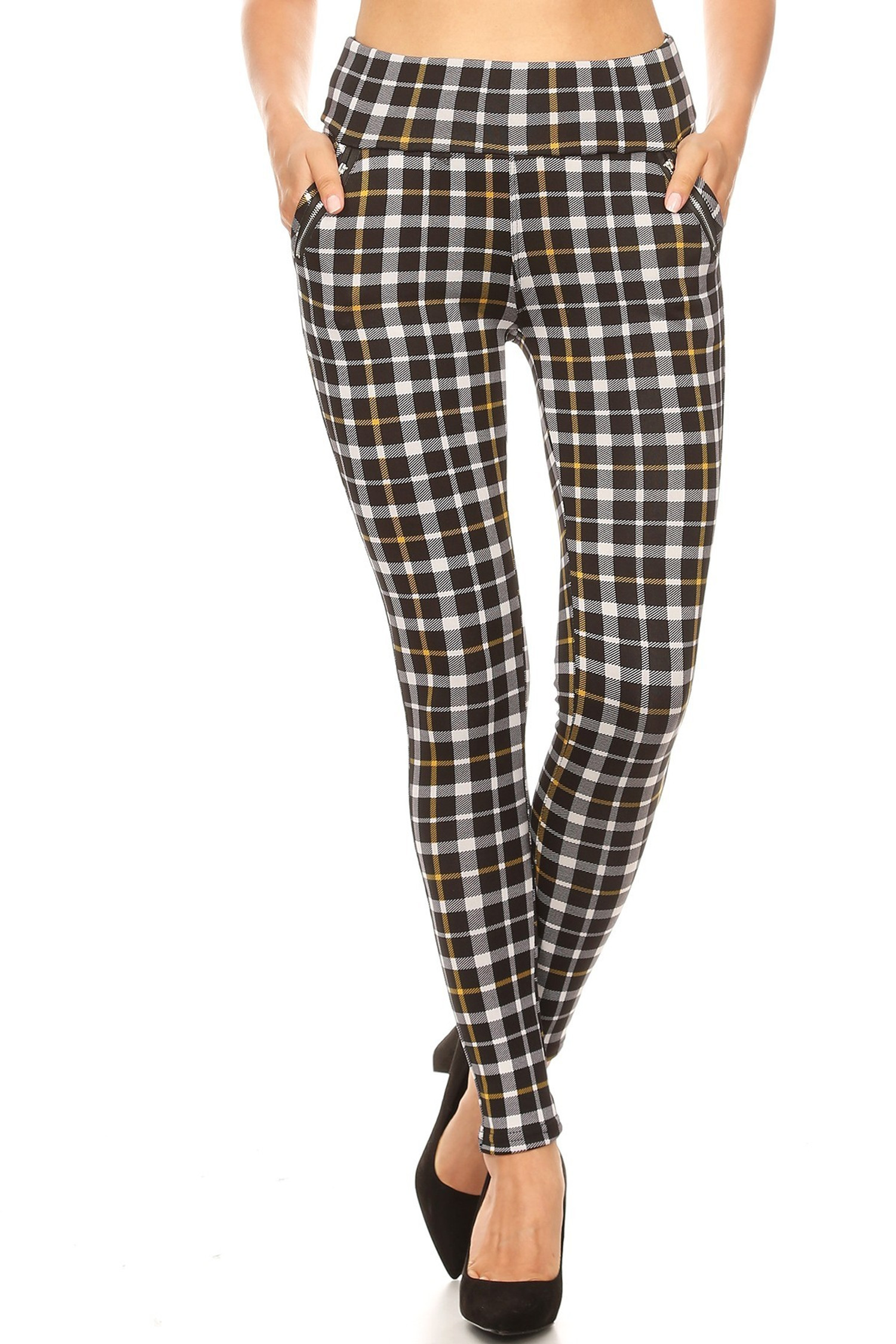 Mustard Accent Plaid High Waisted Treggings with Zipper Pockets