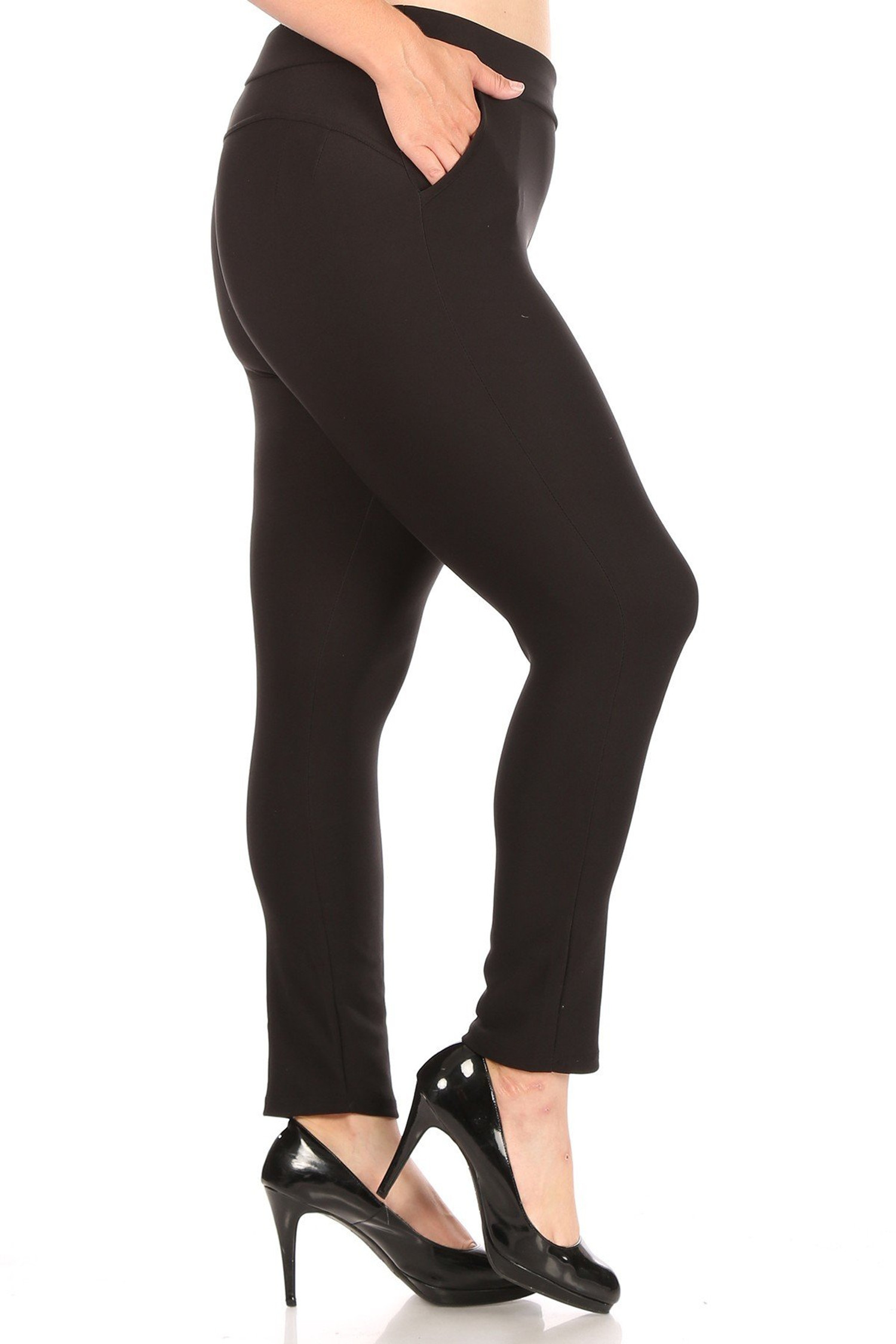 Solid Black Body Sculpting Plus Size Treggings with Pockets