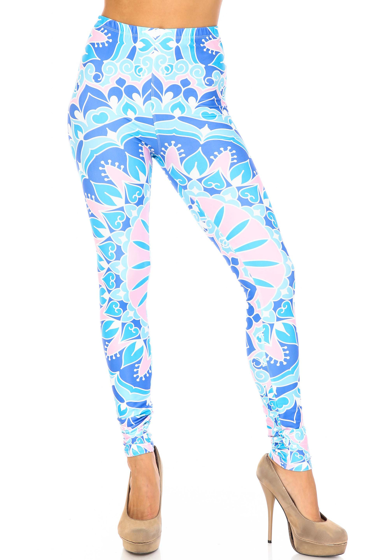 Creamy Soft Bursting Blue Mandala Leggings - USA Fashion™
