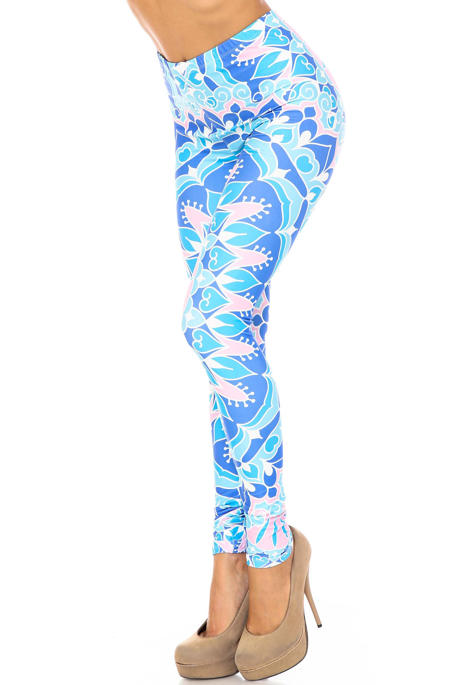 Creamy Soft Bursting Blue Mandala Plus Size Leggings - USA Fashion™