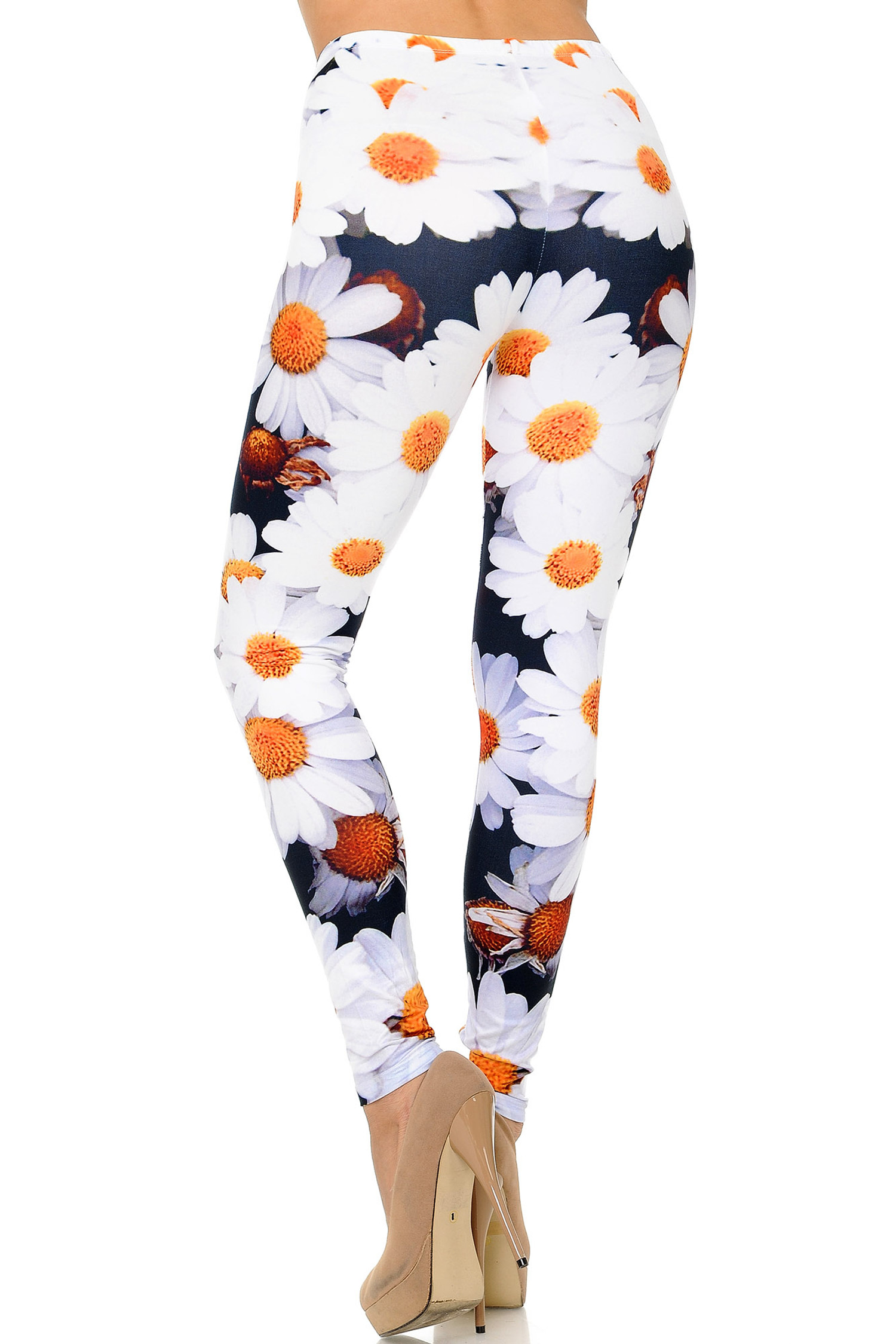 Back side image of Creamy Soft Daisy Leggings - USA Fashion™