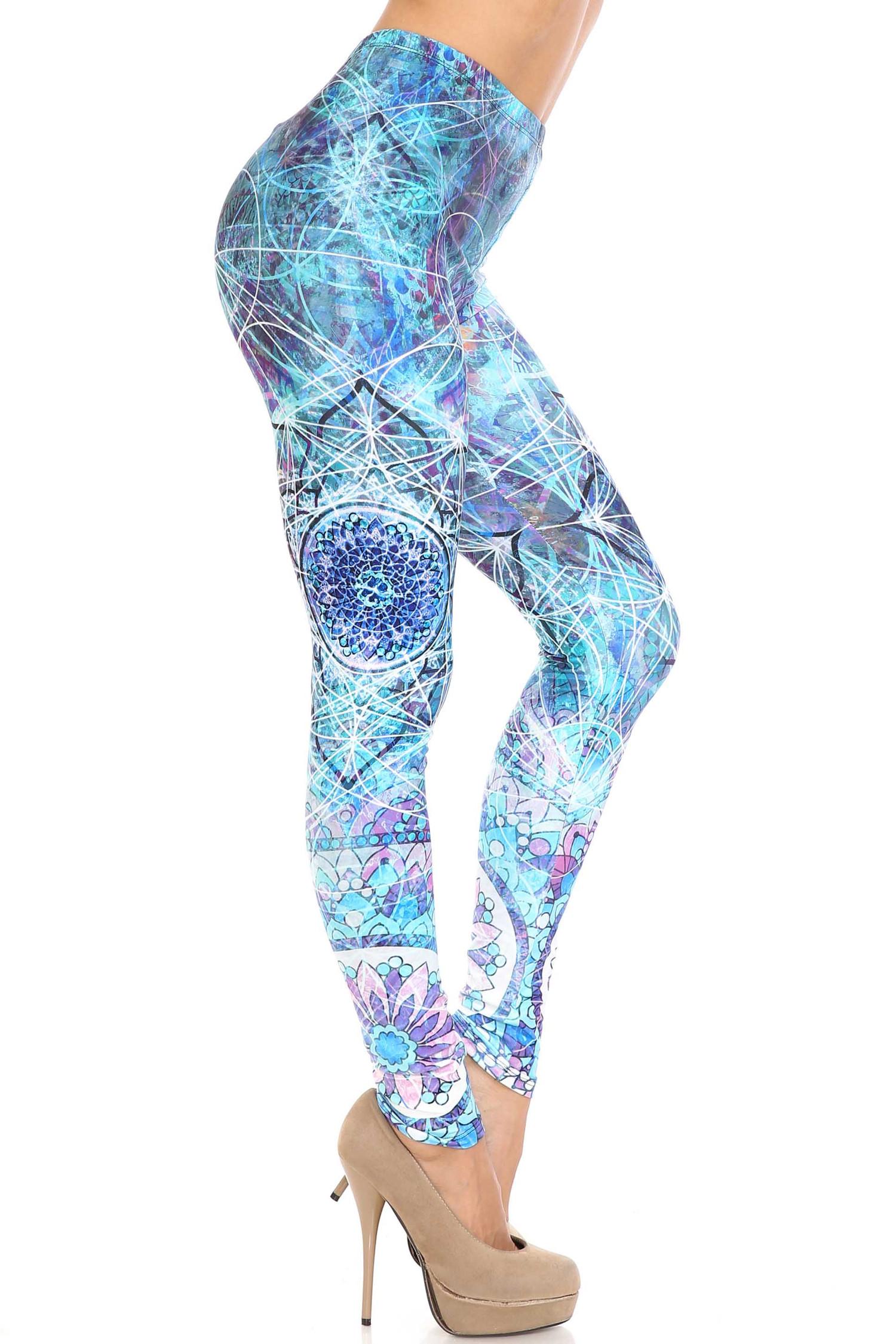 Creamy Soft Cyan Mandala Extra Plus Size Leggings - 3X-5X - USA Fashion™