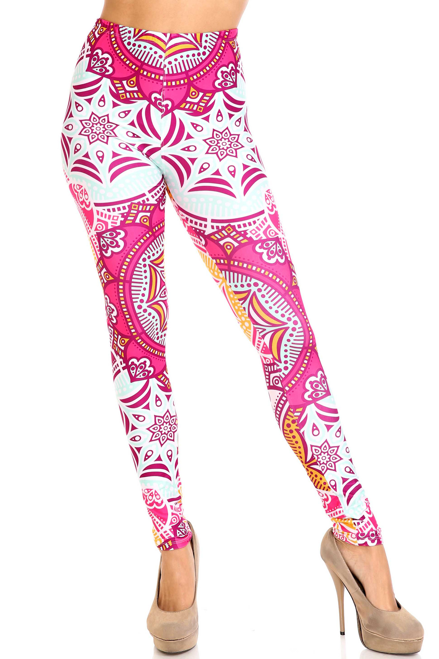Creamy Soft Crimson Aquamarine Mandala Leggings - USA Fashion™